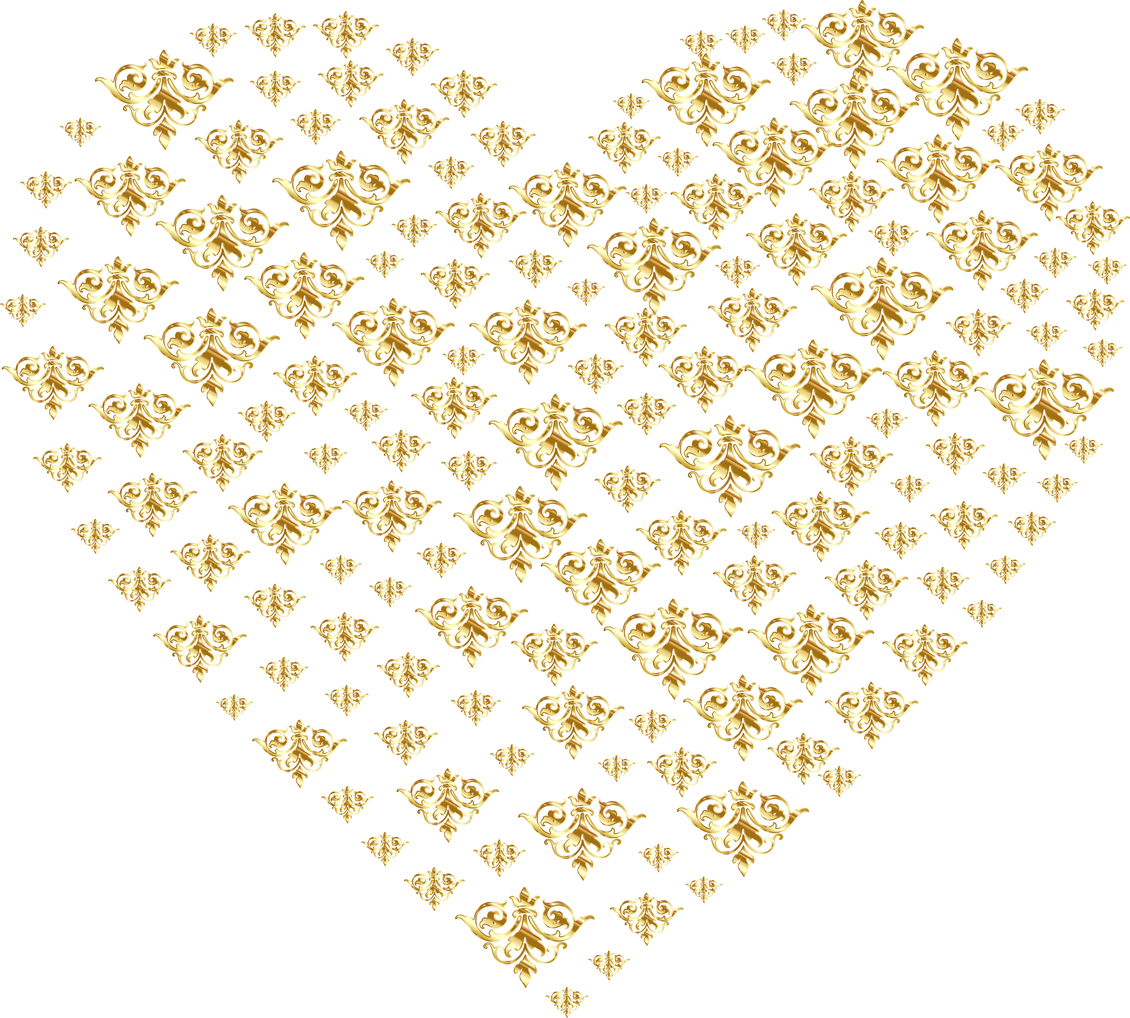 Gold Damask Heart No Background by GDJ