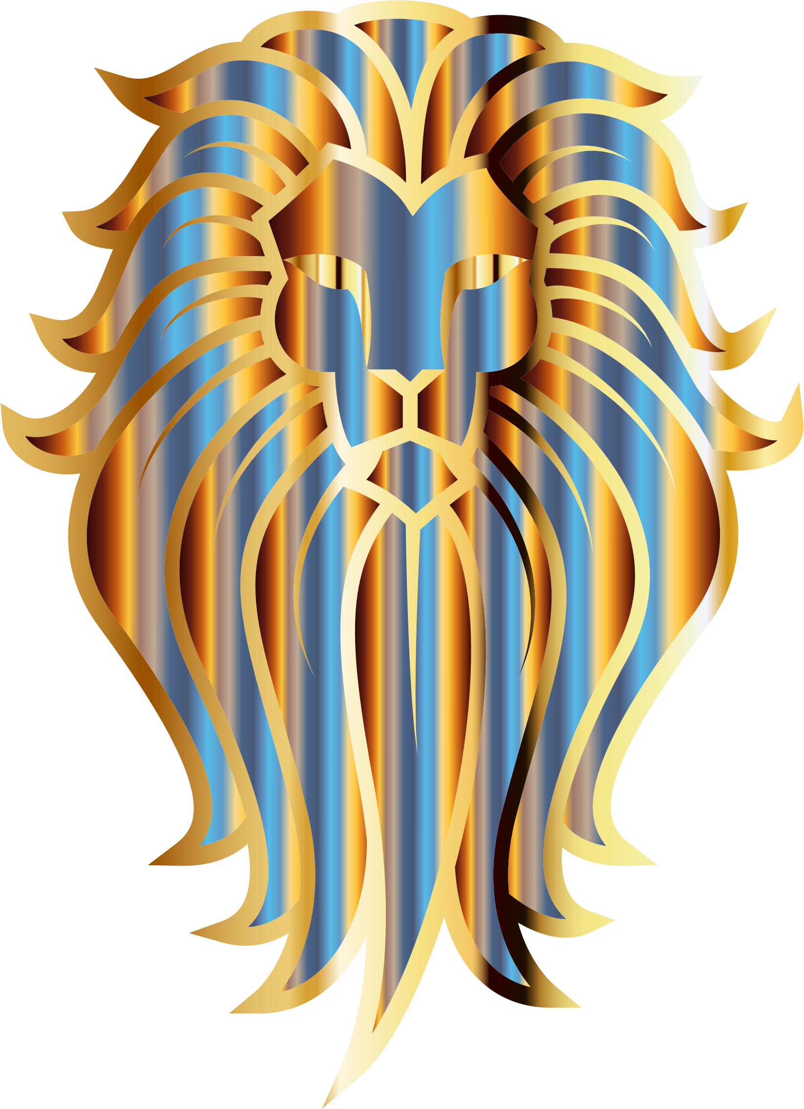 Chromatic Lion Face Tattoo No Background by GDJ