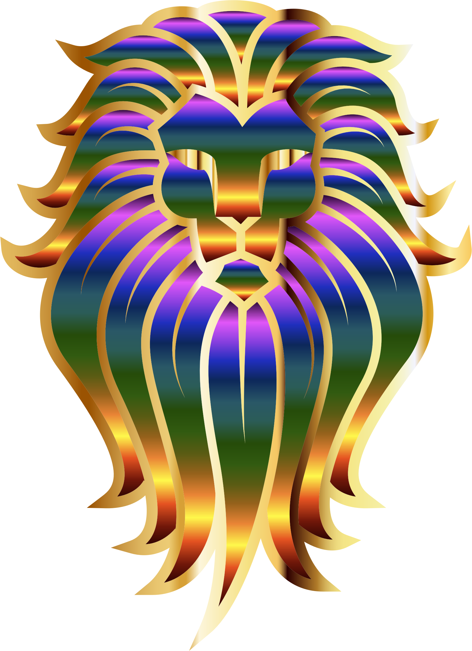 Chromatic Lion Face Tattoo 2 No Background by GDJ