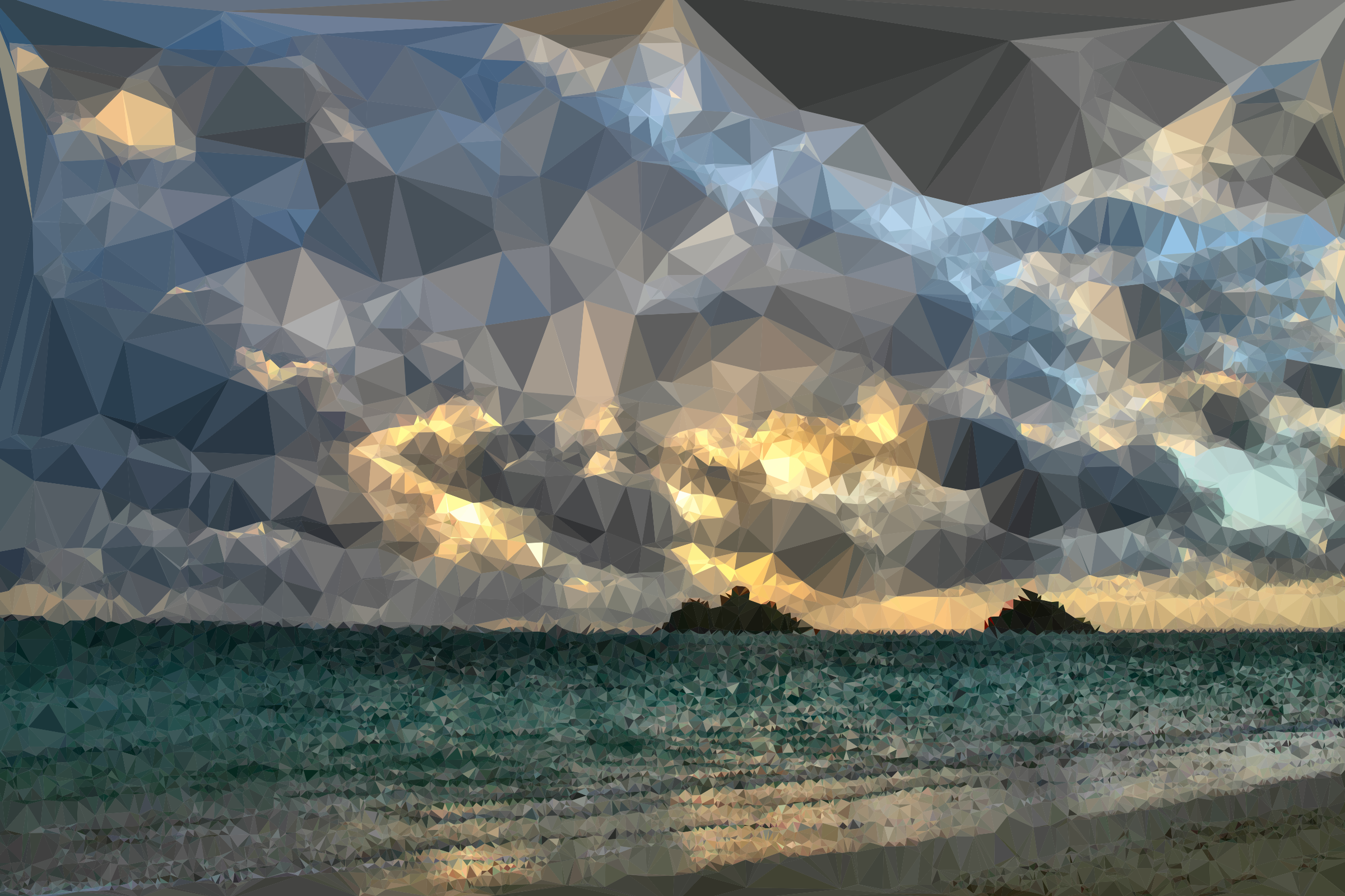 Low Poly Distant Beach Sunrise by GDJ