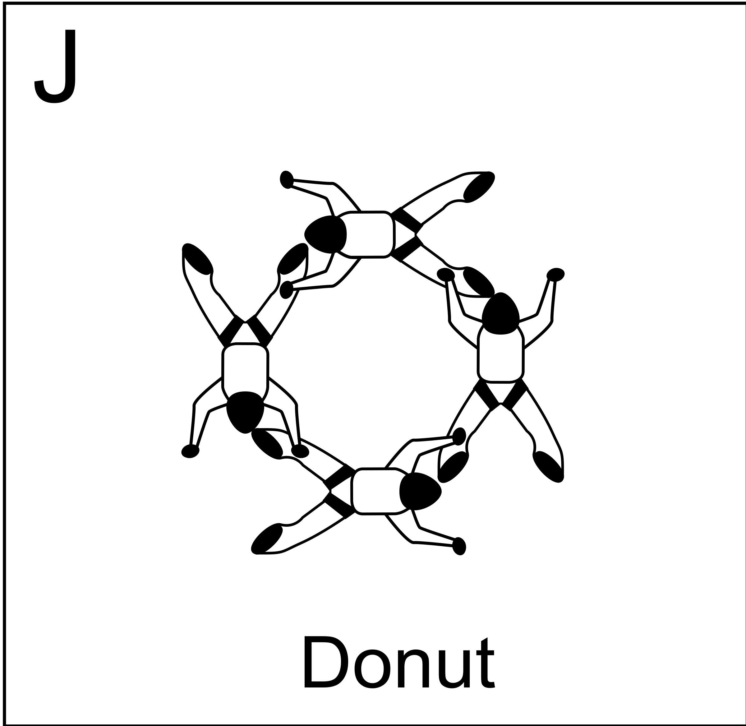 Figure J - Donut,  Vol relatif à 4, Formation Skydiving 4-Way by Fanfan
