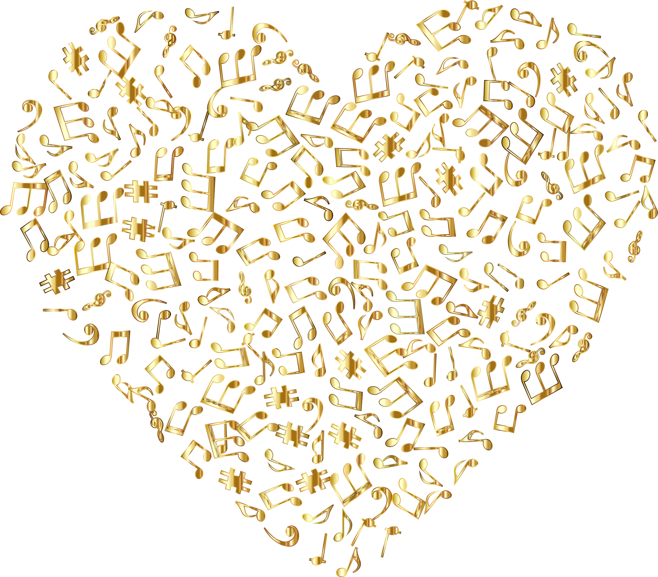 Gold Musical Heart 4 No Background by GDJ