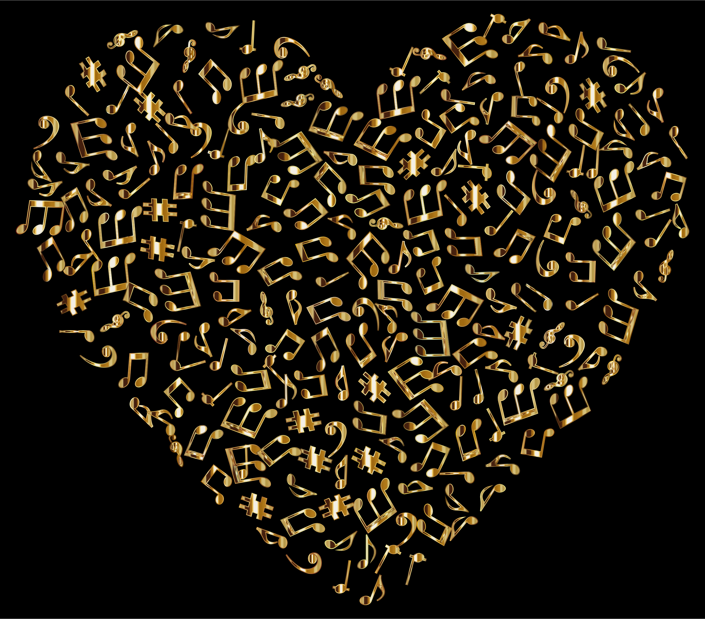Gold Musical Heart 4 2 by GDJ