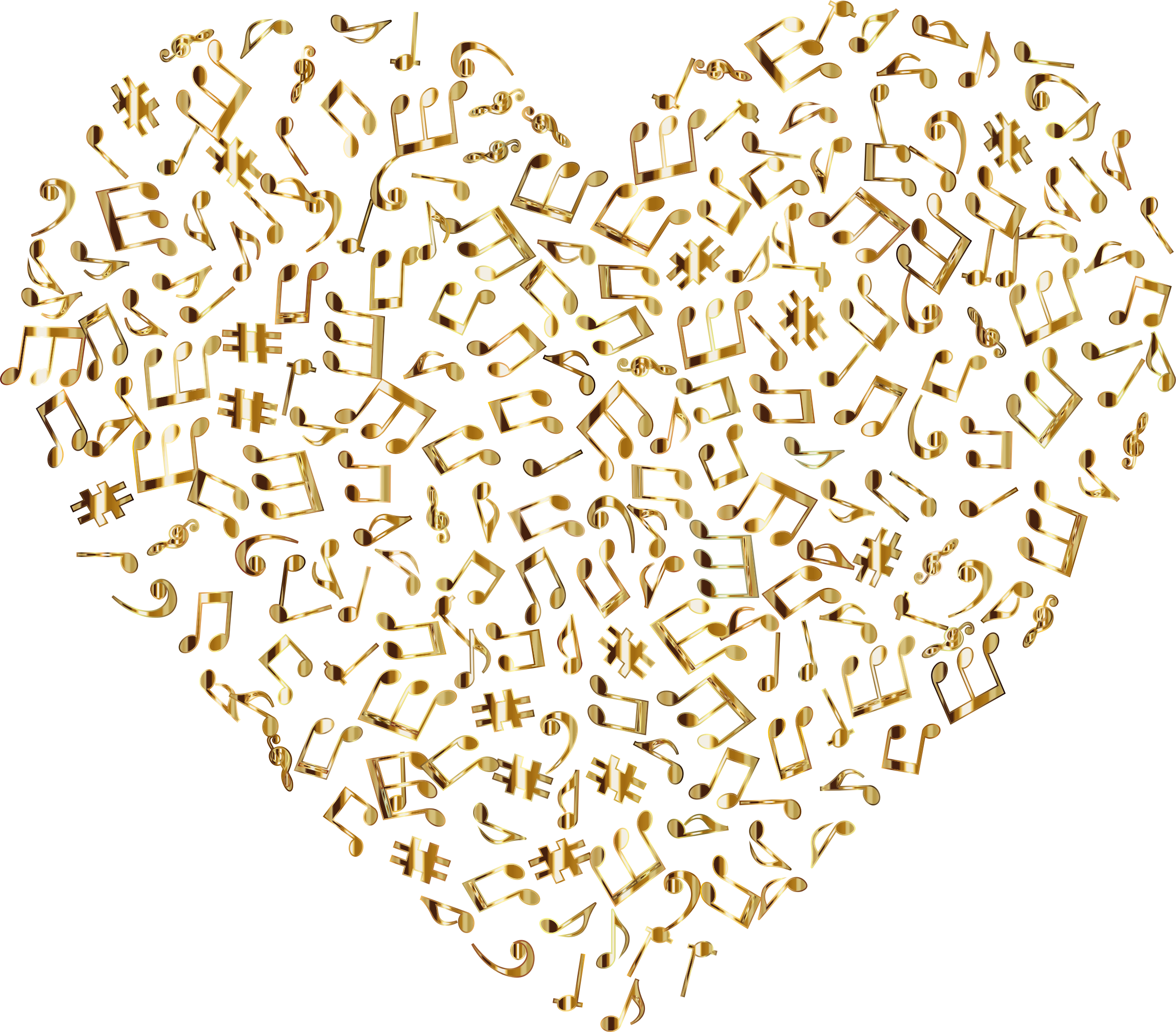 Gold Musical Heart 4 2 No Background by GDJ