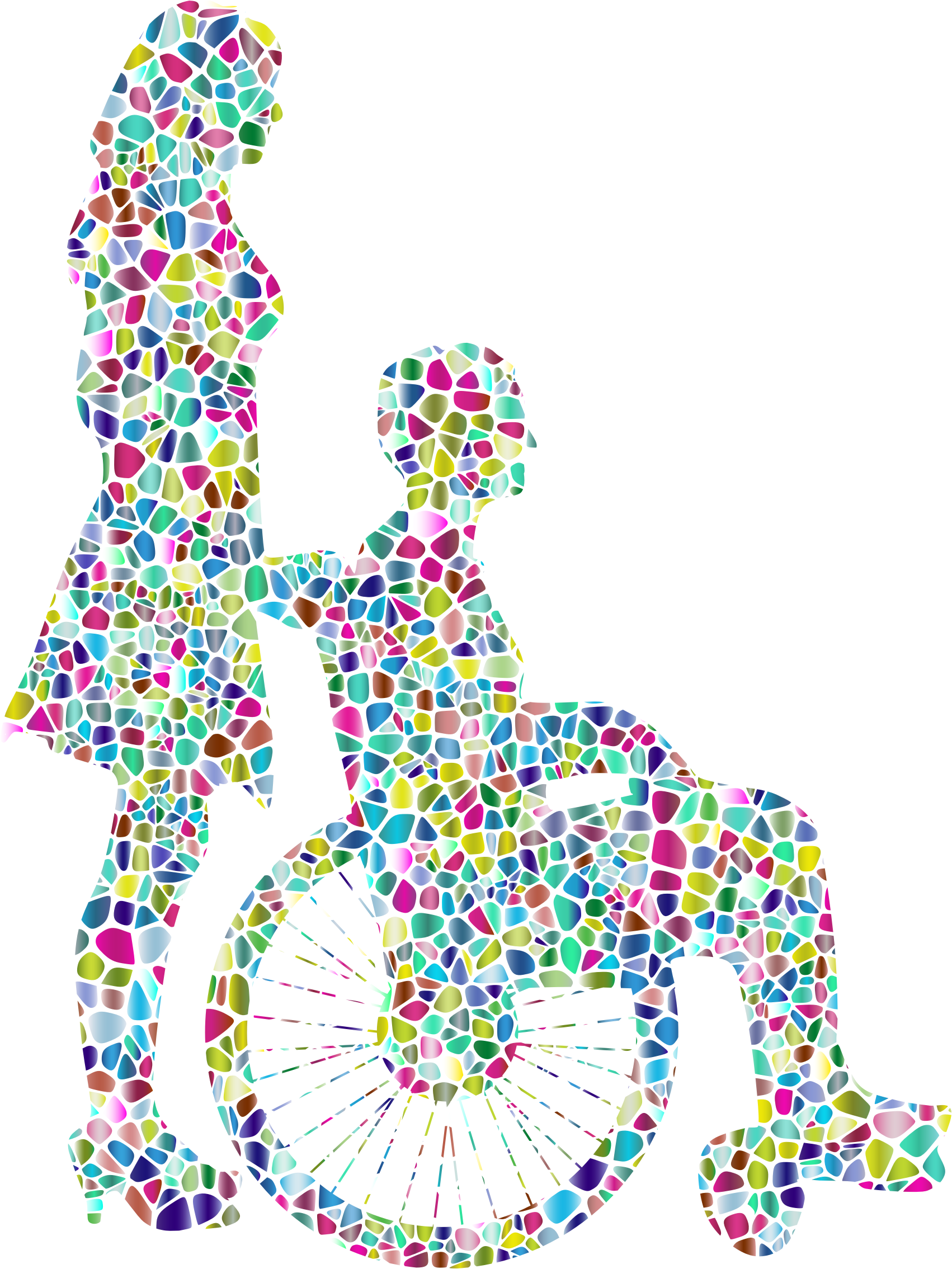 Polyprismatic Tiled Woman Pushing Man In Wheelchair Silhouette by GDJ