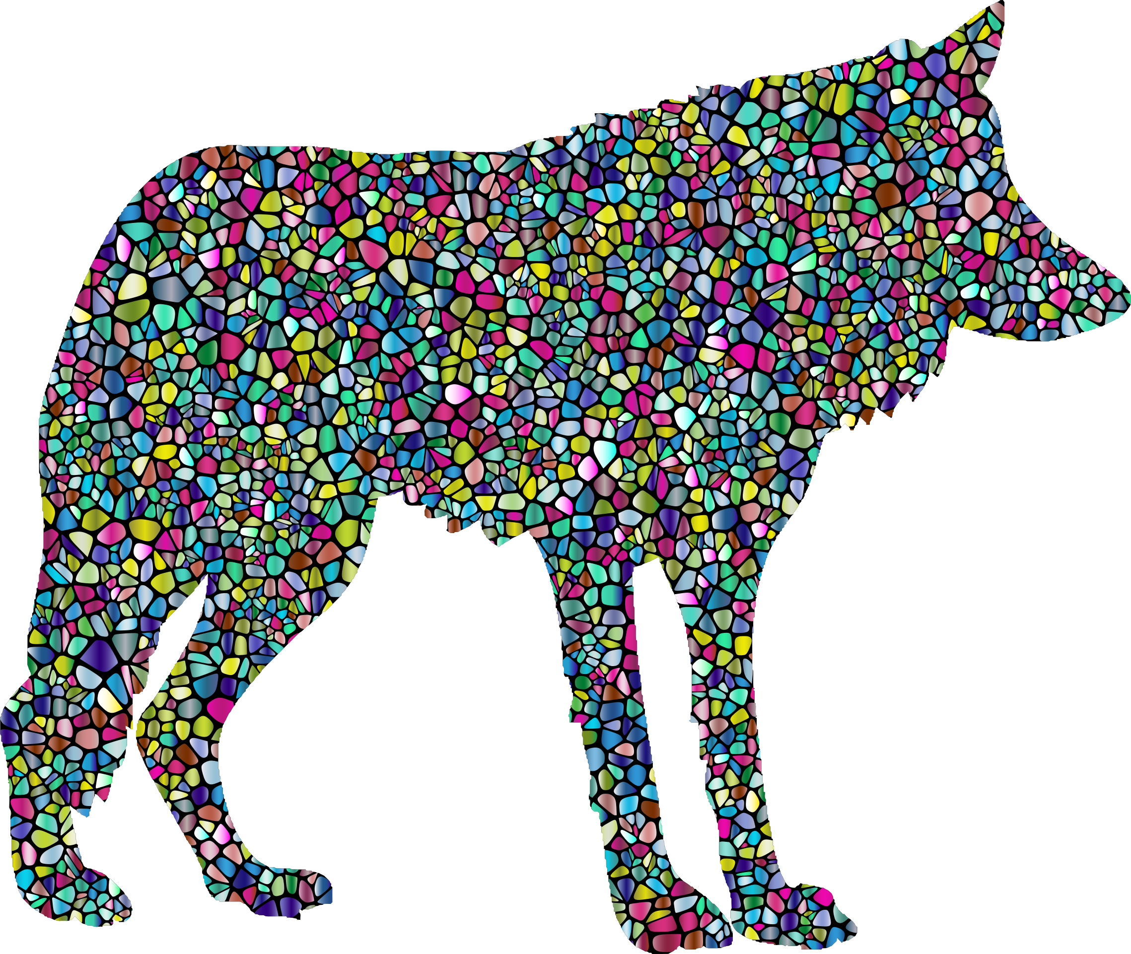Polyprismatic Tiled Wolf Silhouette 2 With Background by GDJ