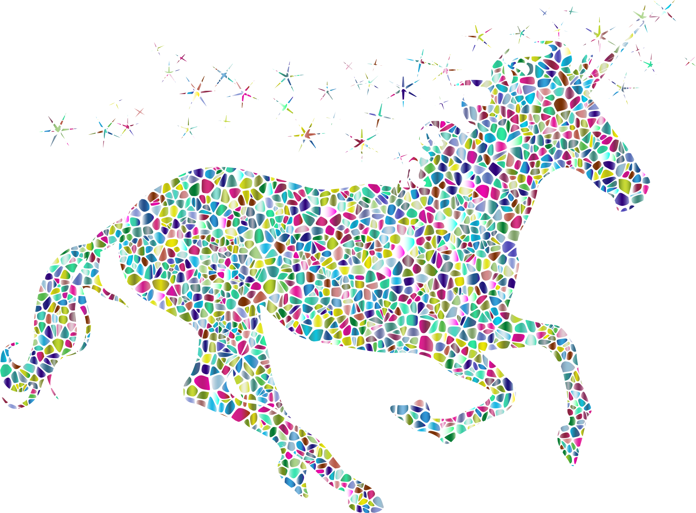 Polyprismatic Tiled Magical Unicorn Silhouette by GDJ