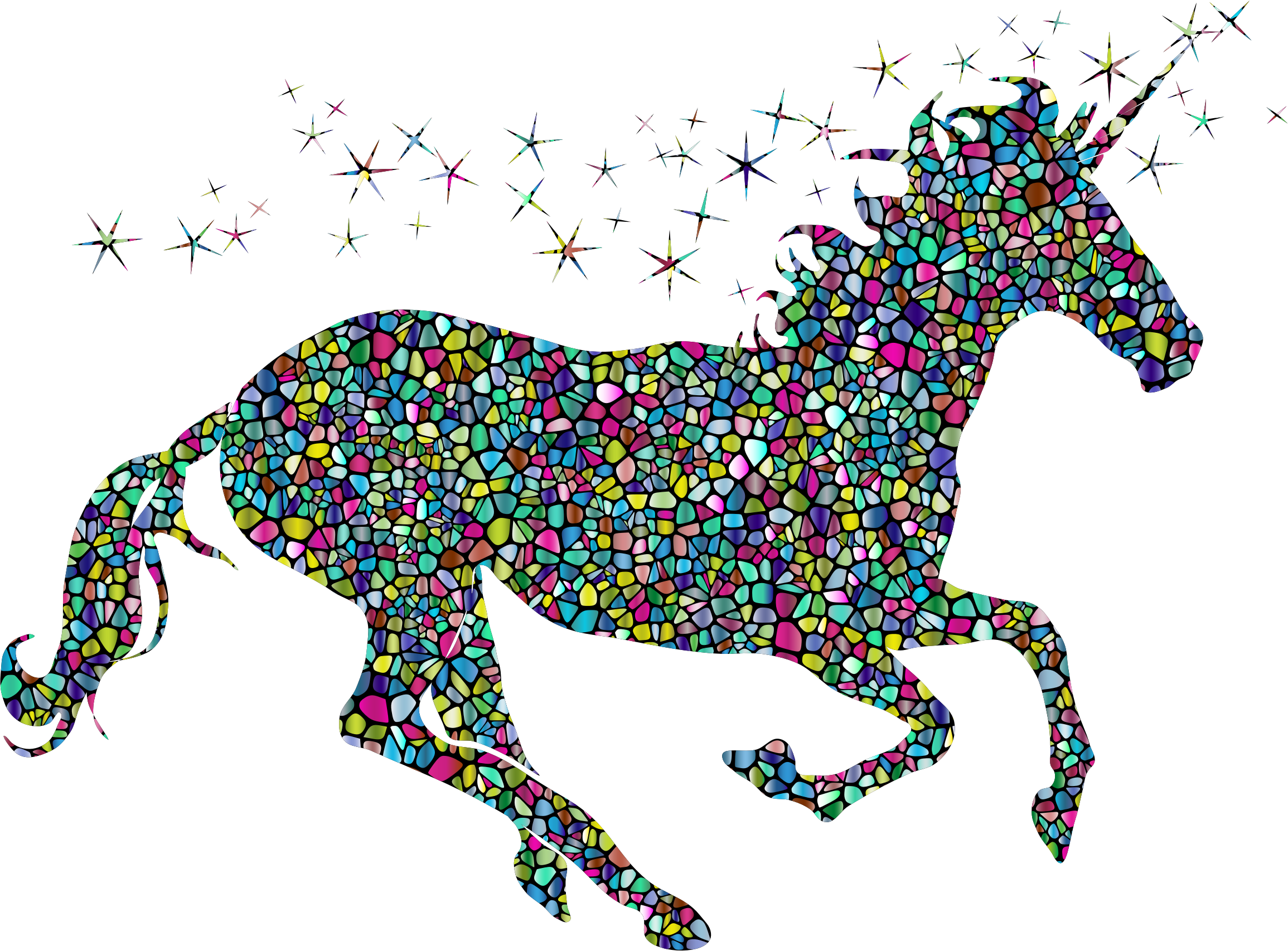 Polyprismatic Tiled Magical Unicorn Silhouette With Background by GDJ