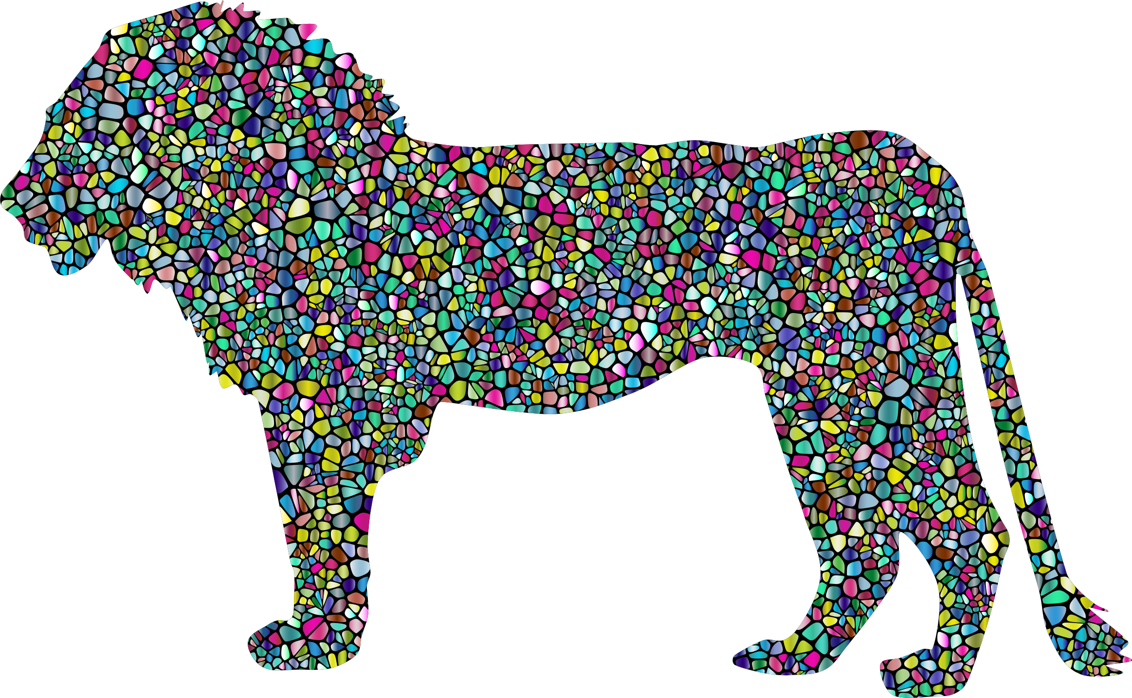 Polyprismatic Tiled Lion Profile Silhouette With Background by GDJ