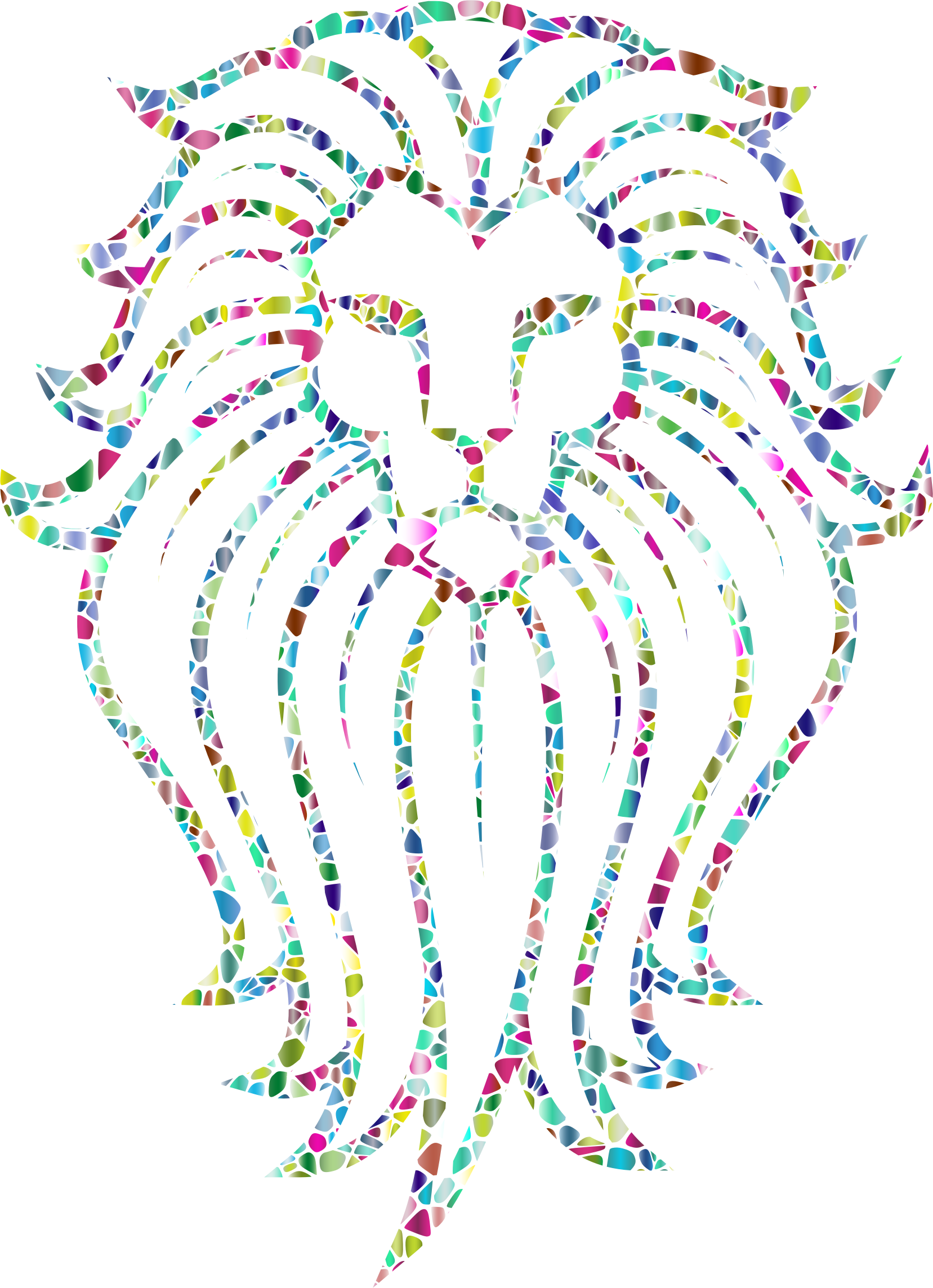 Polyprismatic Tiled Lion Face Tattoo by GDJ
