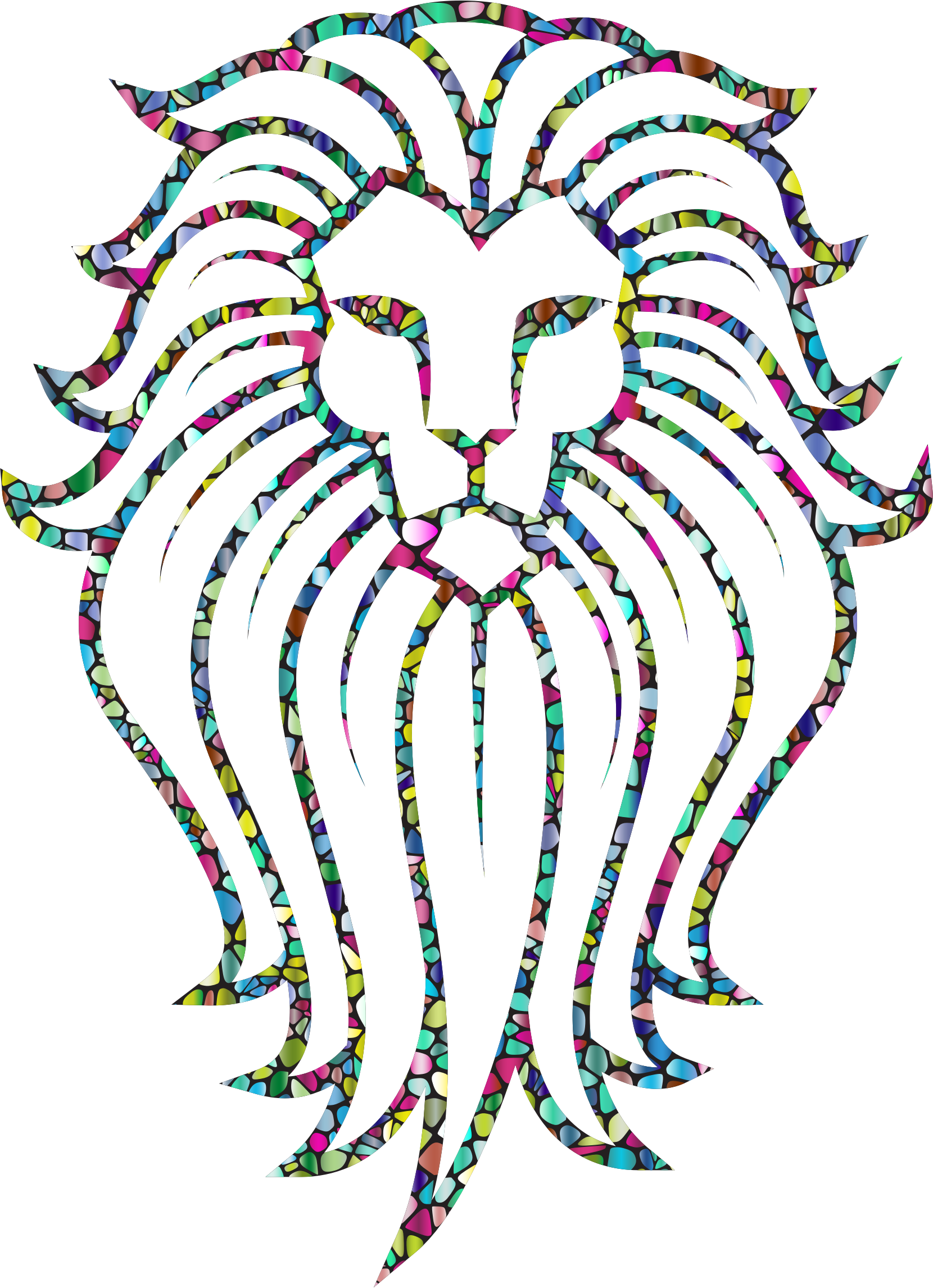Polyprismatic Tiled Lion Face Tattoo With Background by GDJ
