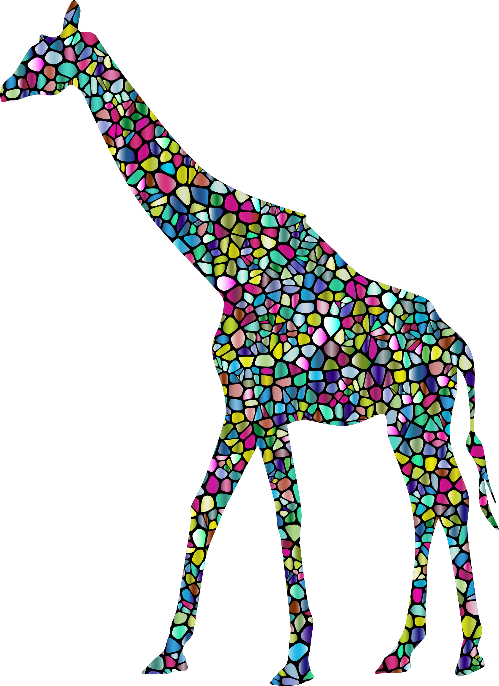 Polyprismatic Tiled Giraffe Landscape Silhouette Minus Landscape With Background by GDJ