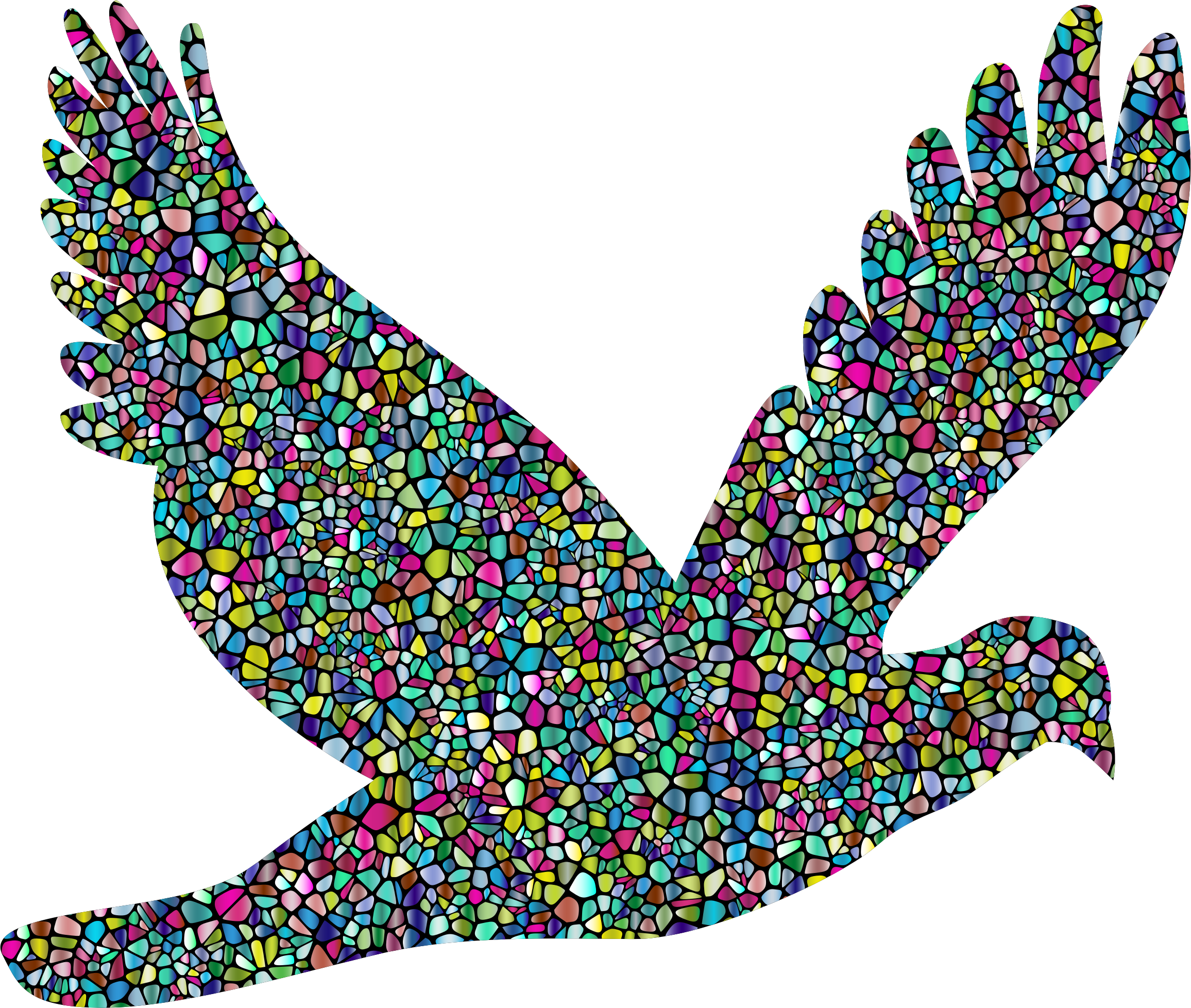 Polyprismatic Tiled Flying Dove Silhouette With Background by GDJ