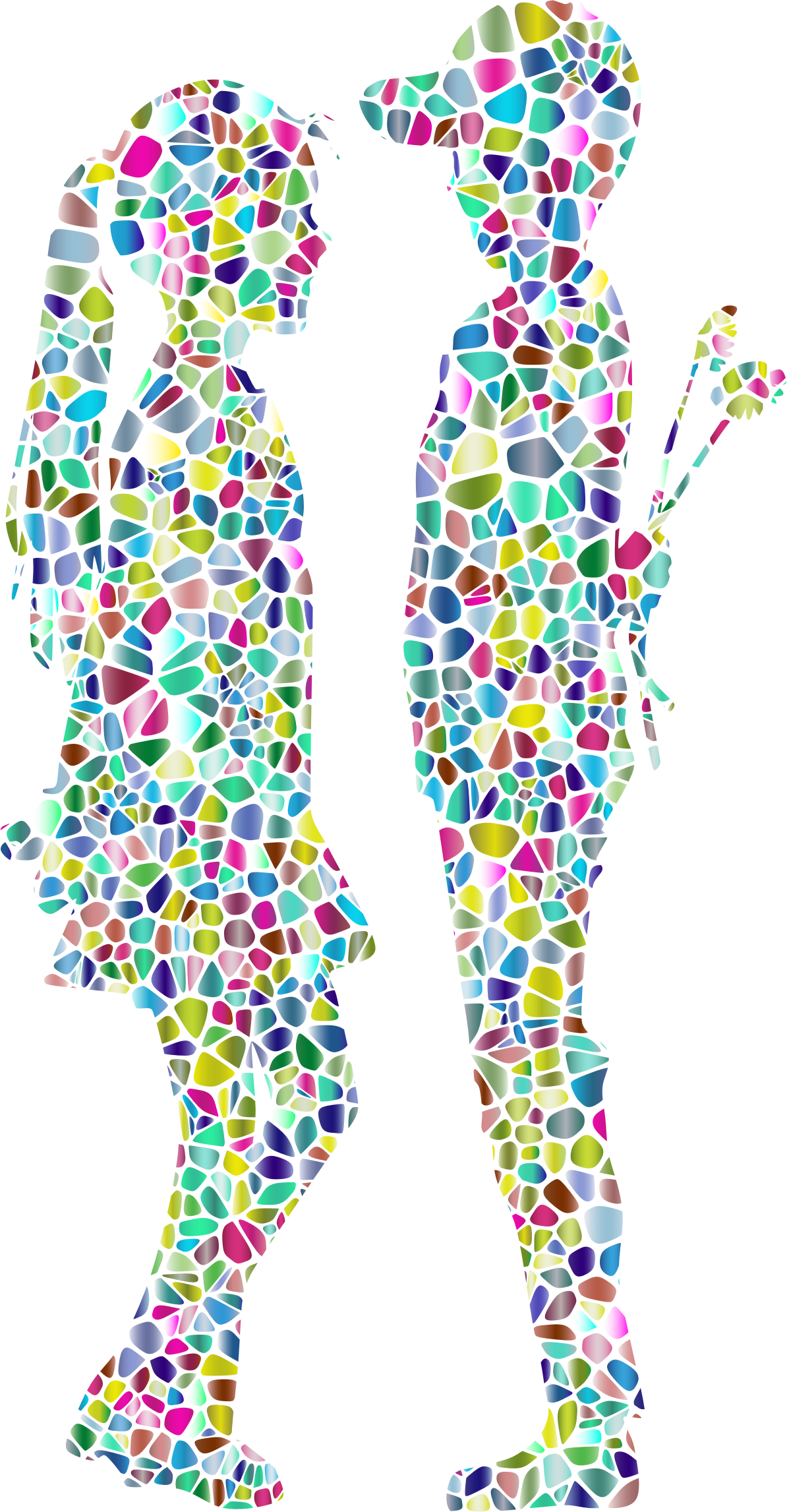 Polyprismatic Tiled Boy Giving Flowers To Girl Silhouette by GDJ