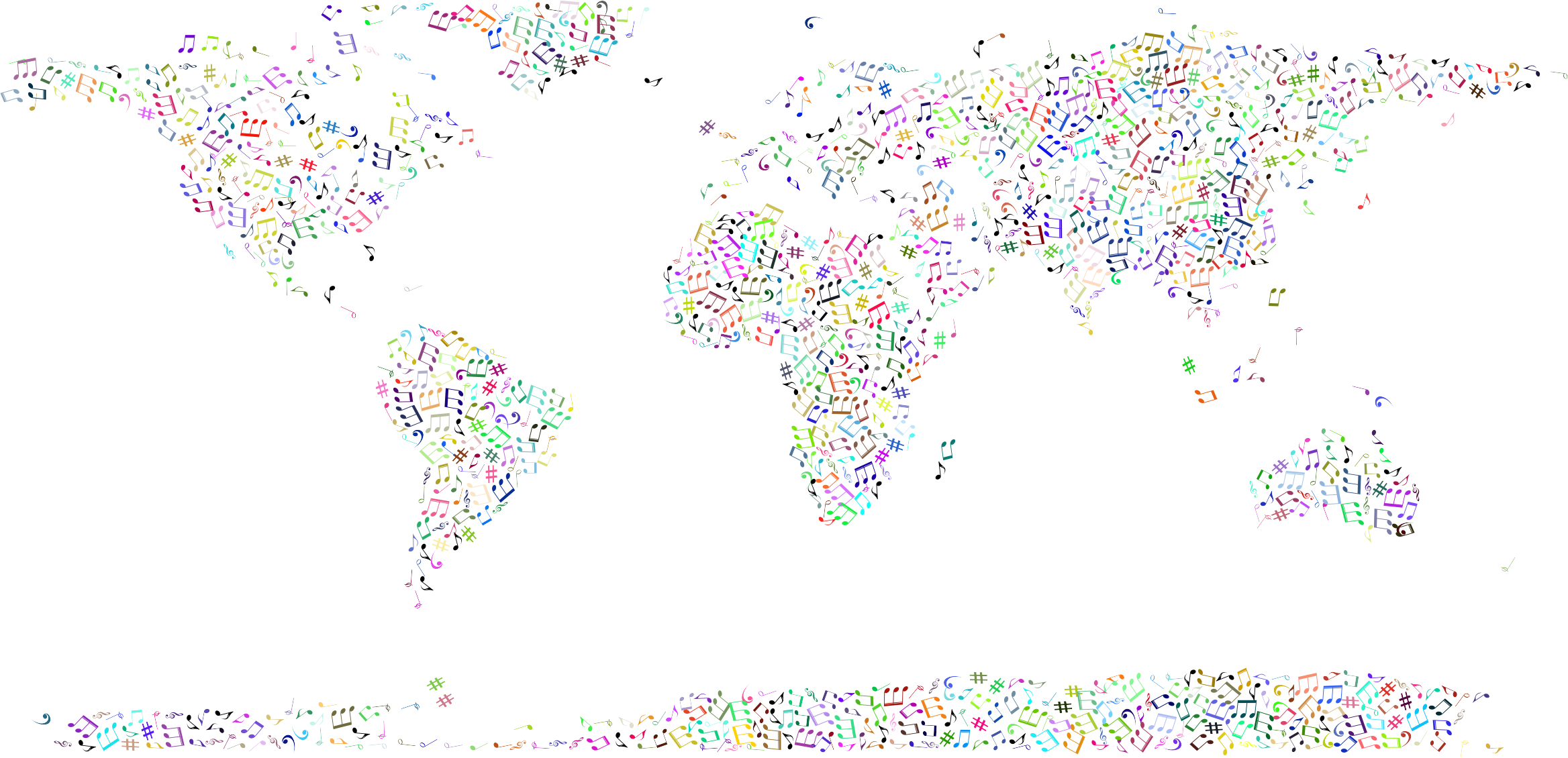 Prismatic Musical World Map No Background by GDJ
