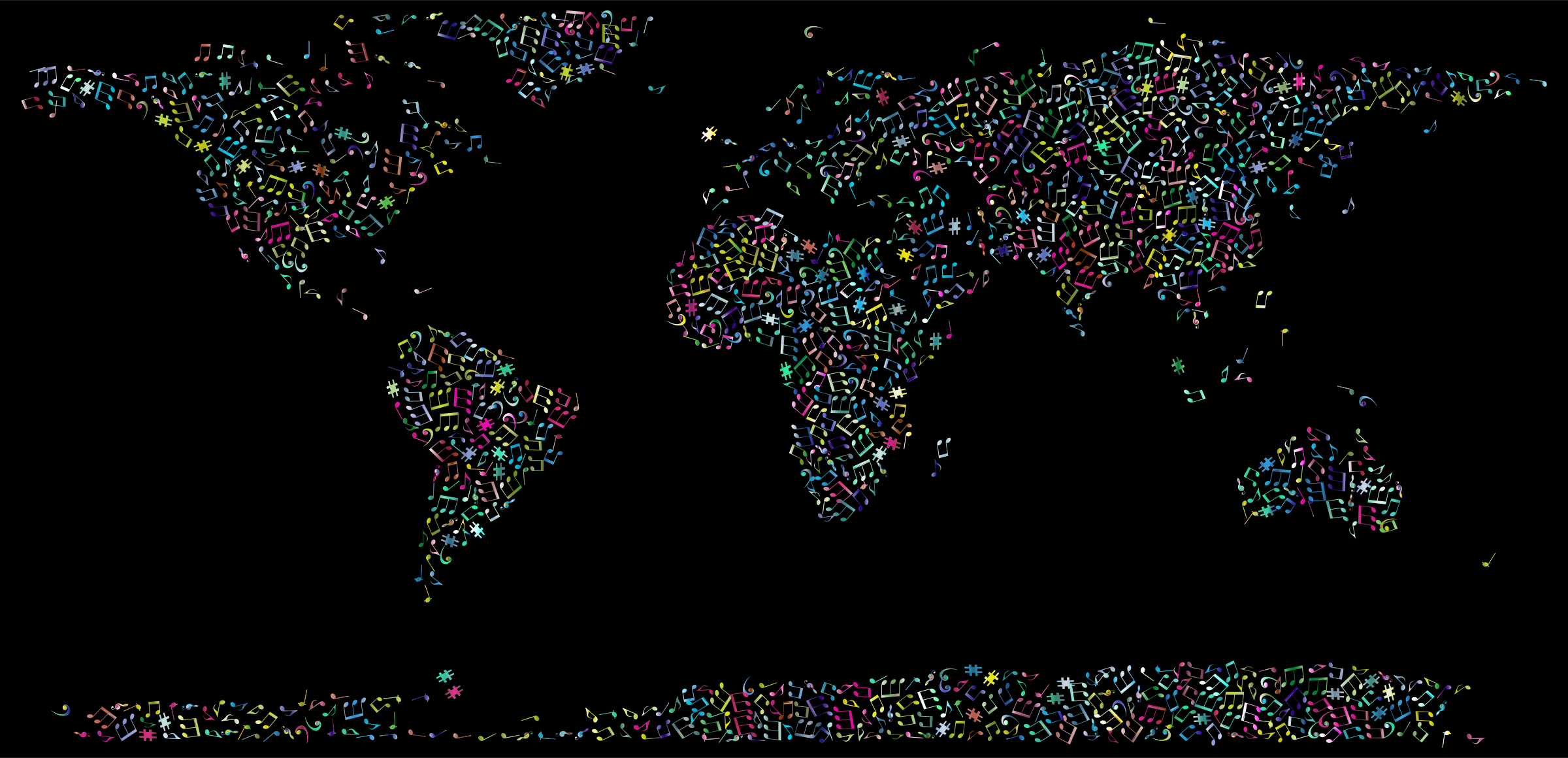 Prismatic Musical World Map 3 by GDJ