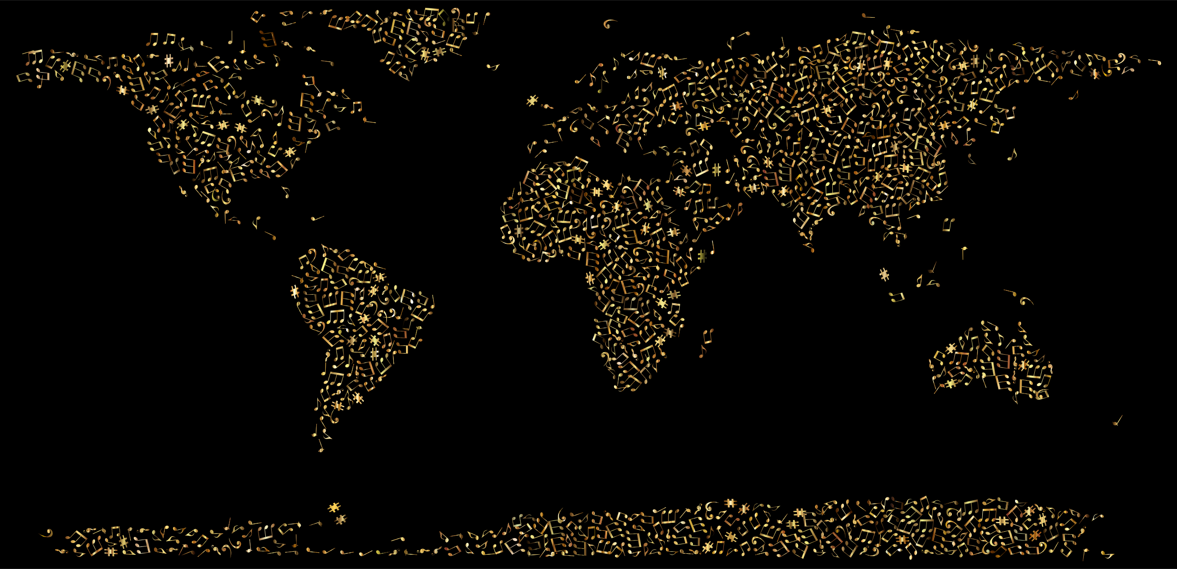 Gold Musical World Map by GDJ