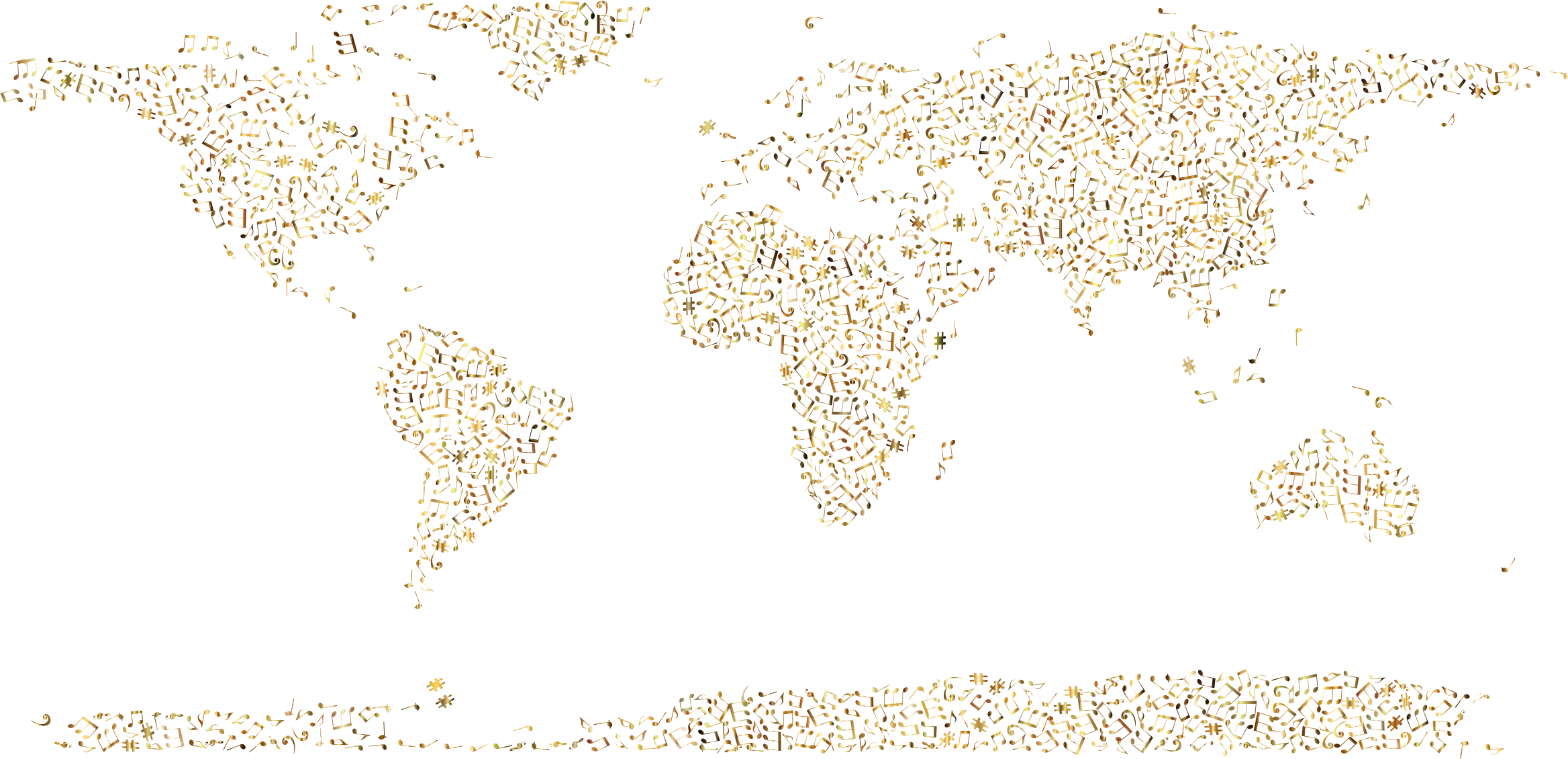 Gold Musical World Map No Background by GDJ