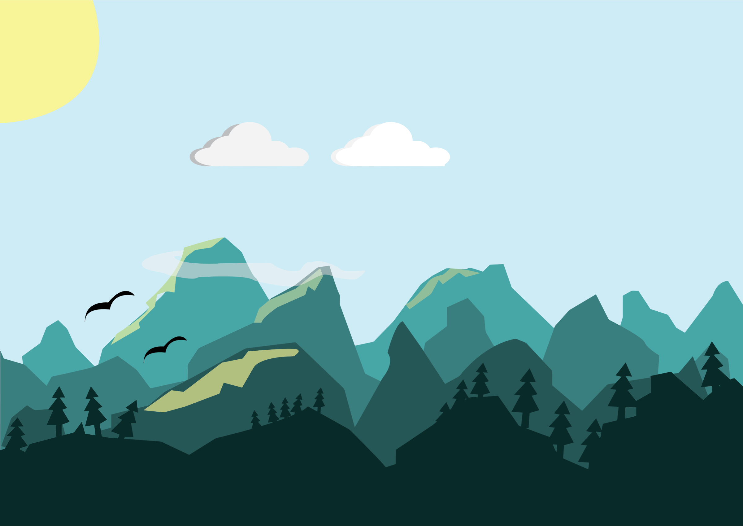 Flat Shaded Mountains Scene by GDJ