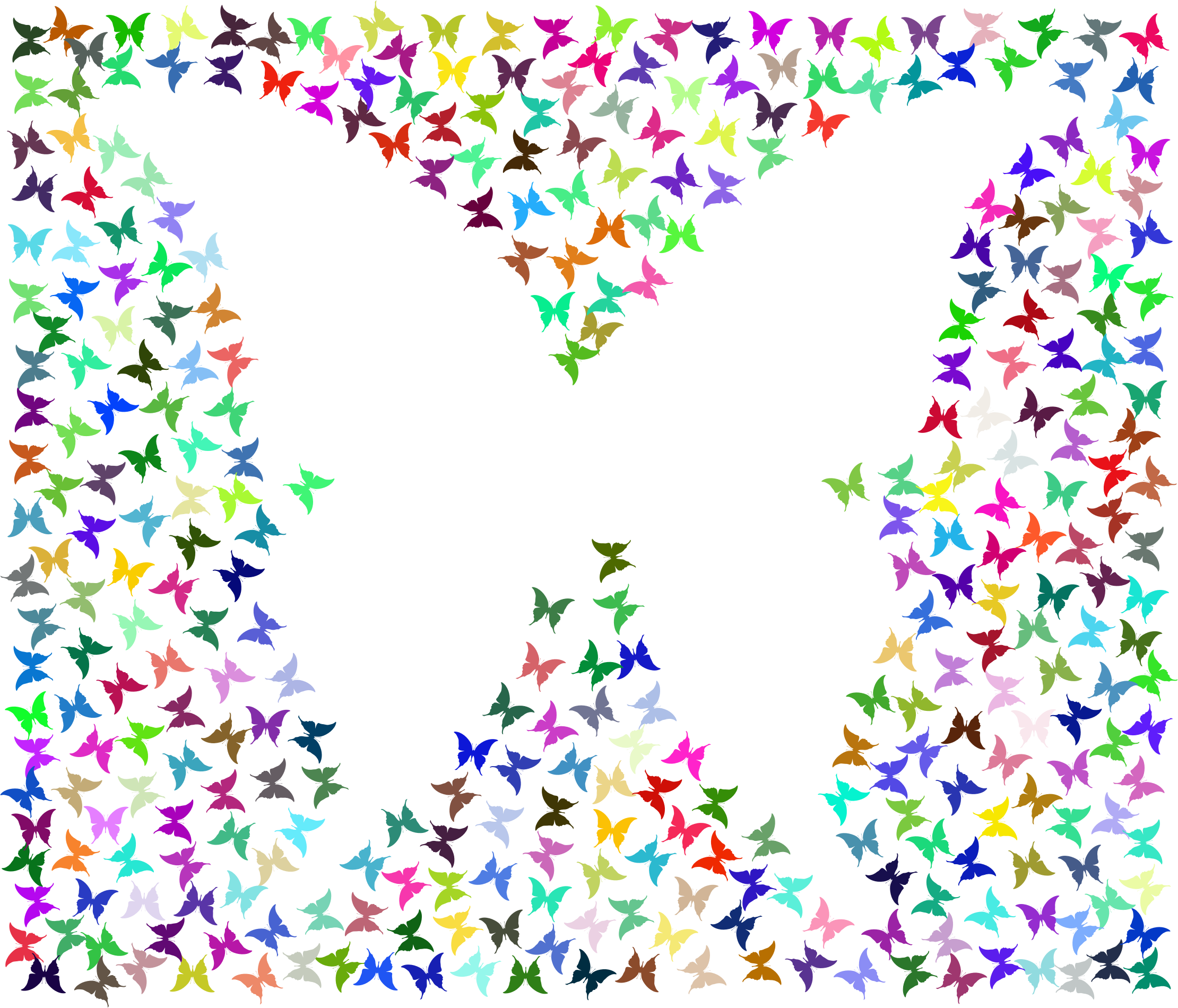 Prismatic Negative Space Butterflies No Background by GDJ