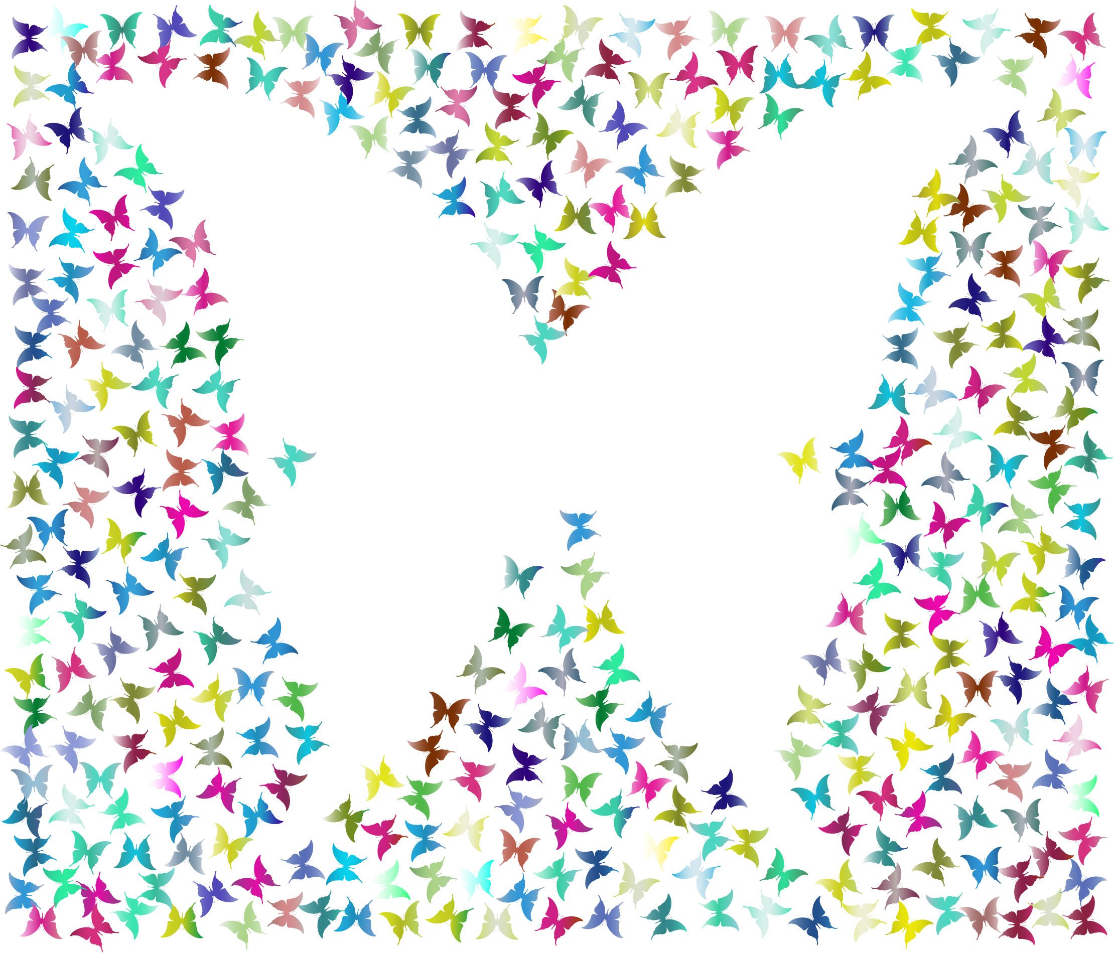 Prismatic Negative Space Butterflies 2 No Background by GDJ