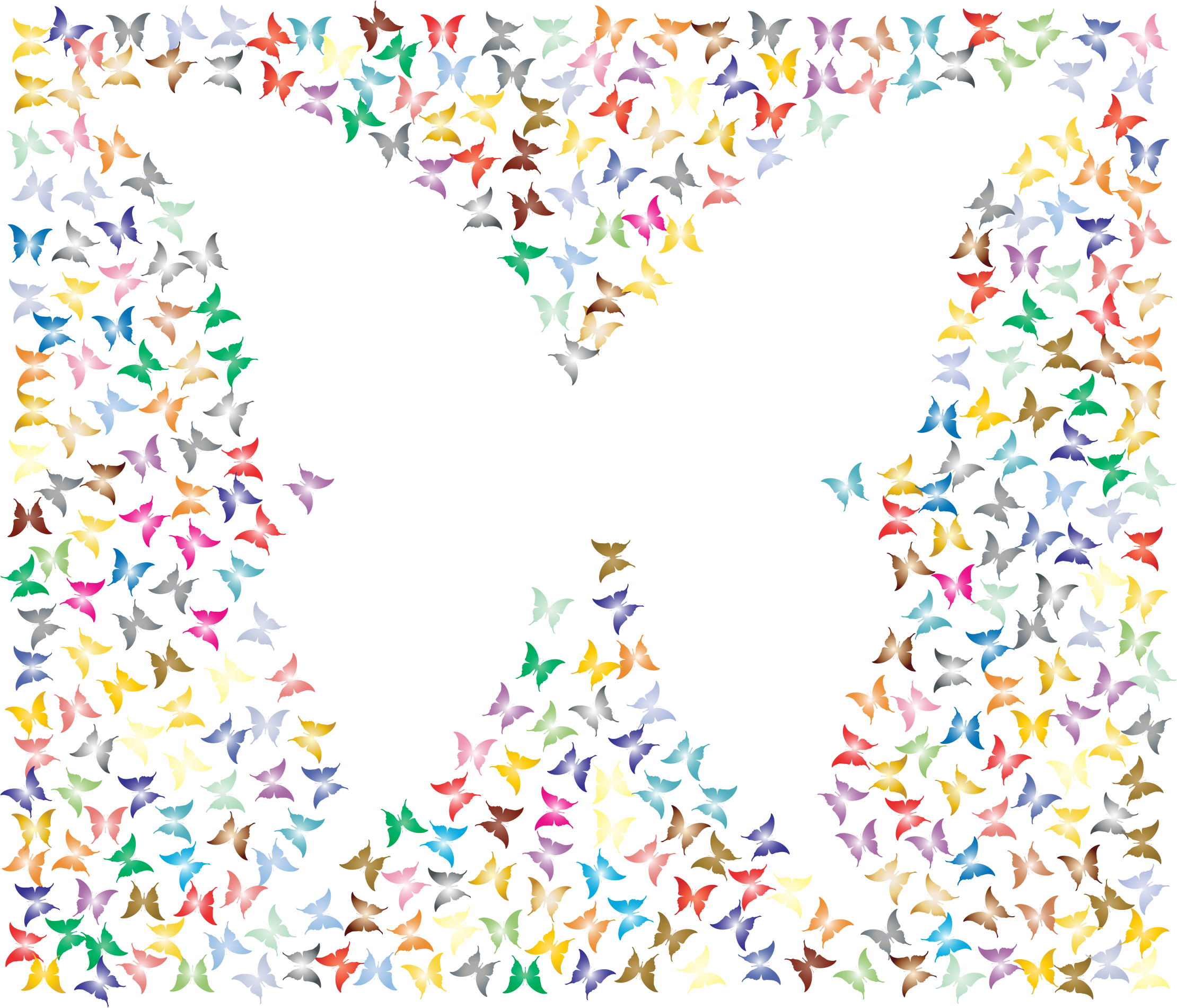 Prismatic Negative Space Butterflies 3 No Background by GDJ