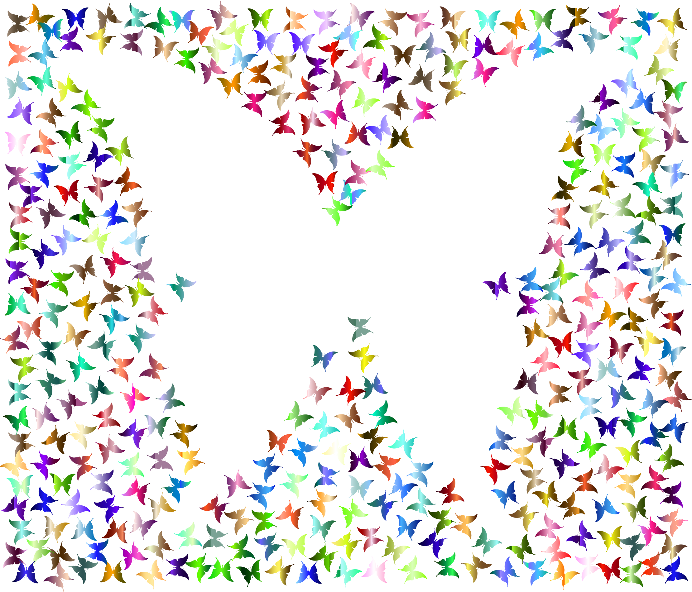 Prismatic Negative Space Butterflies 4 No Background by GDJ