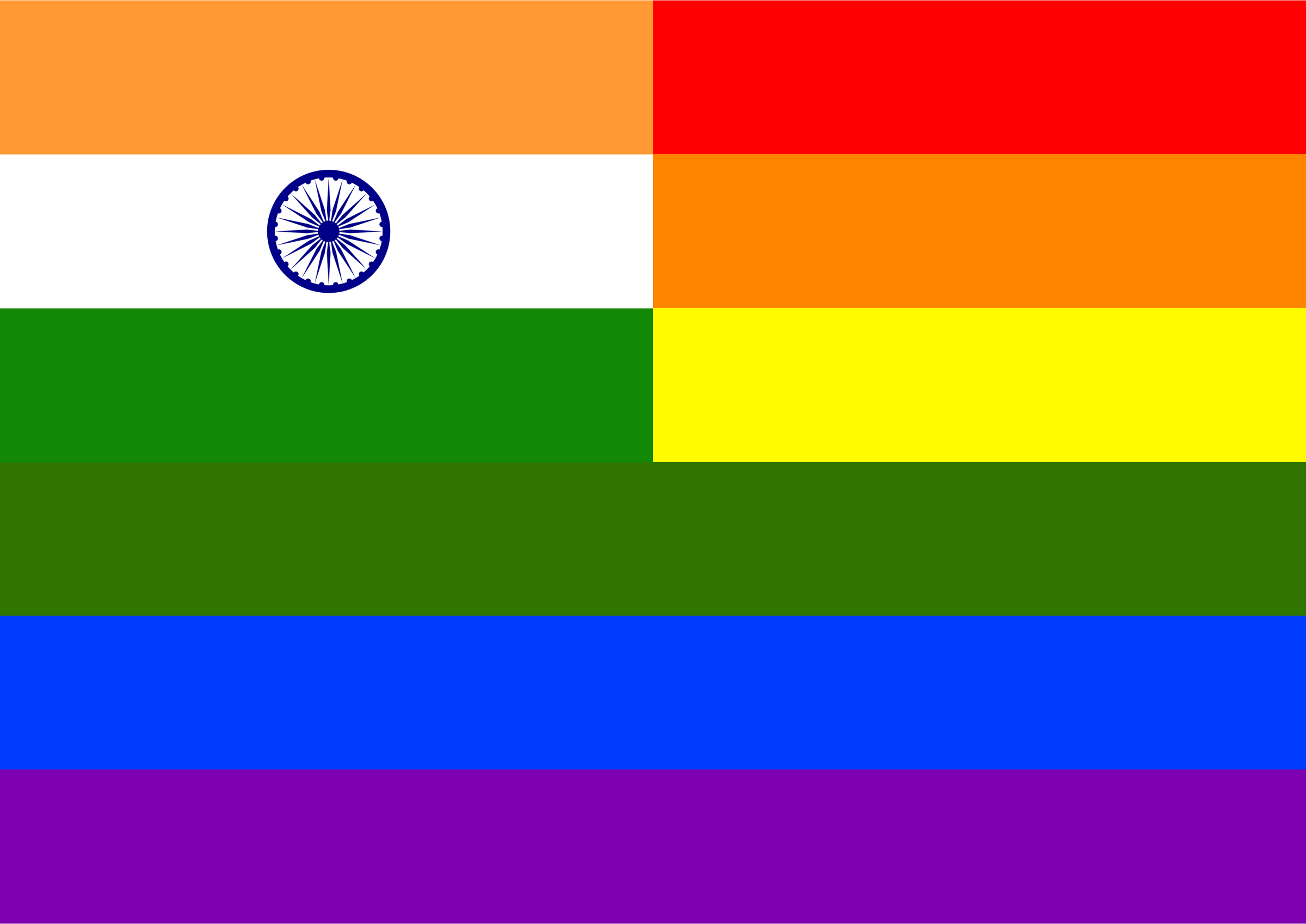 Rainbow Flag India by Hirnlichtspiele