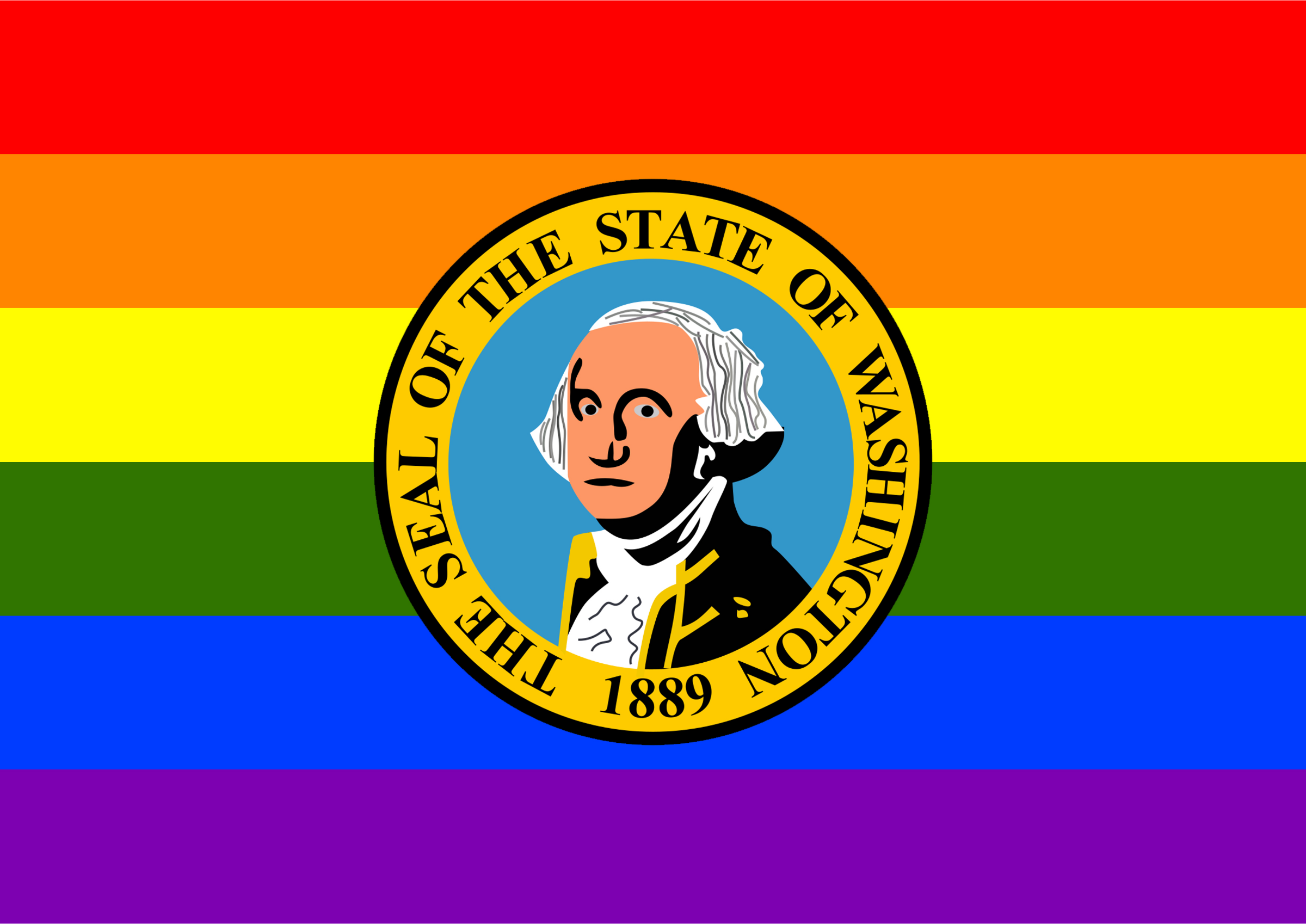 Rainbow Flag Washington 2 by Hirnlichtspiele