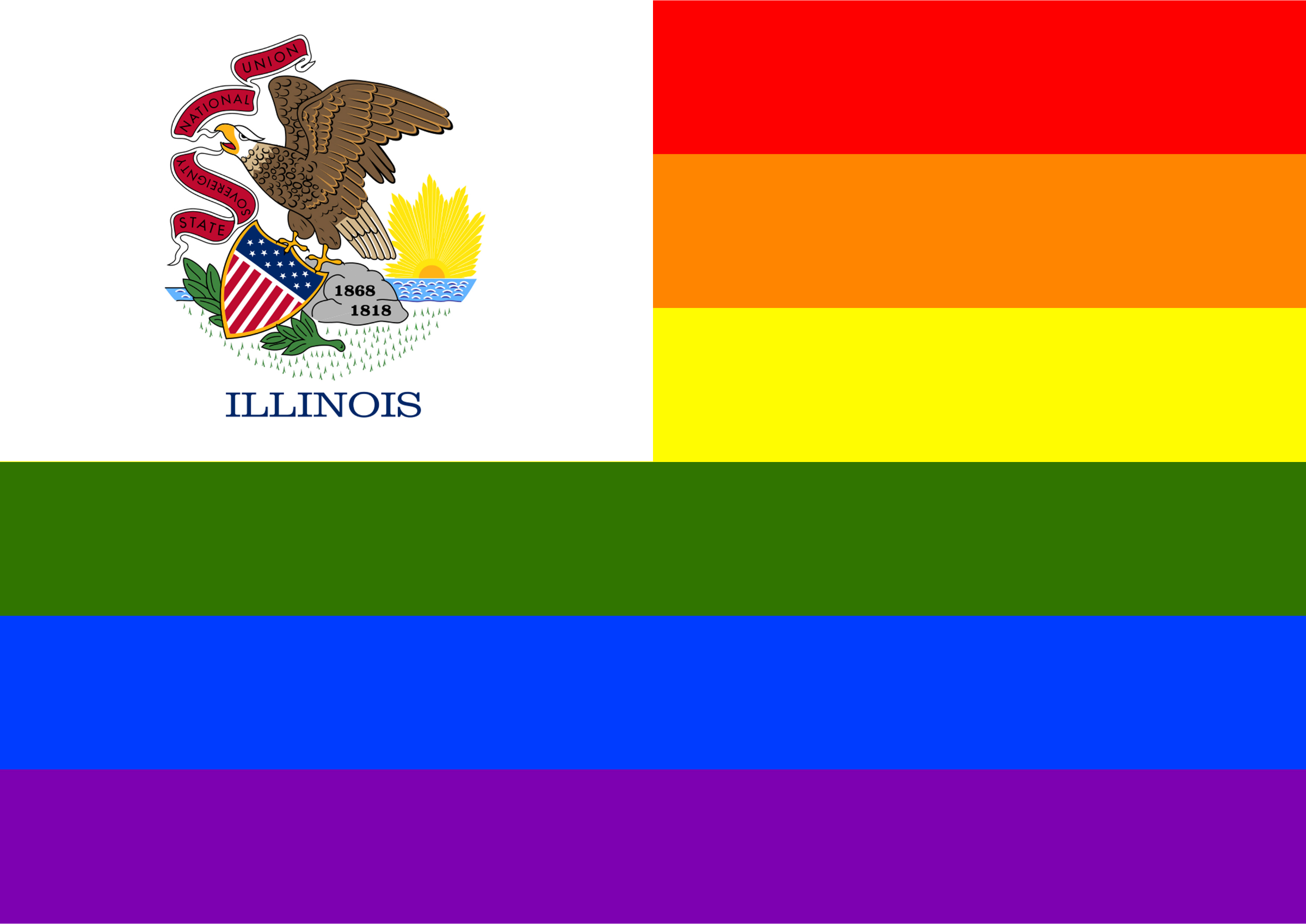 Rainbow Flag Illinois by Hirnlichtspiele