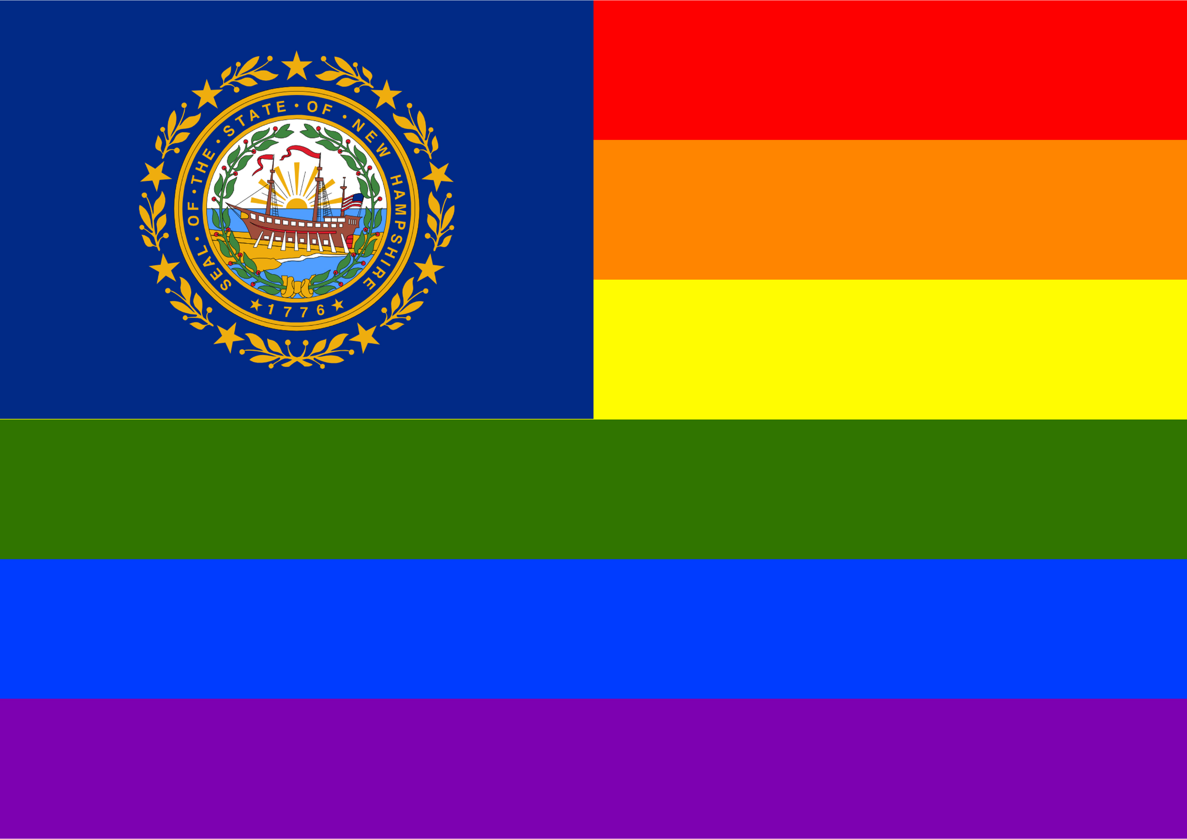 Rainbow Flag New Hampshire by Hirnlichtspiele