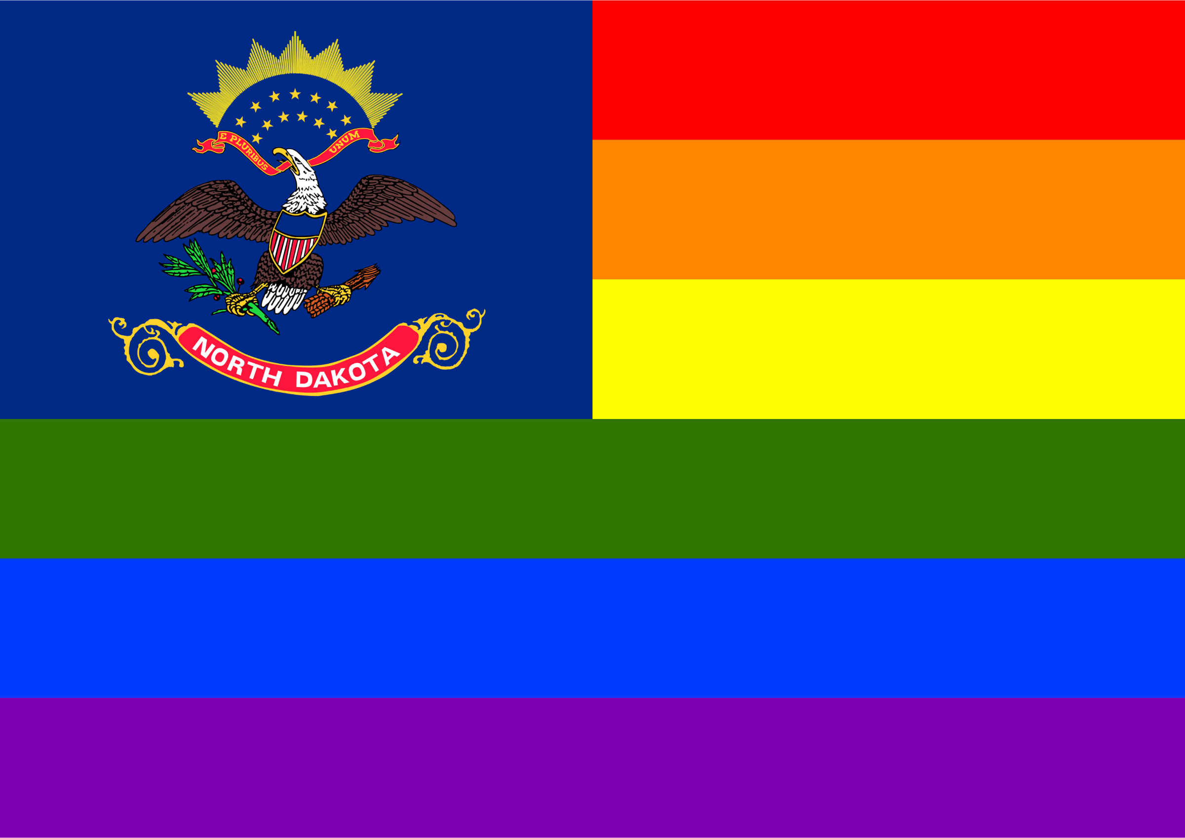 Rainbow Flag North Dakota by Hirnlichtspiele
