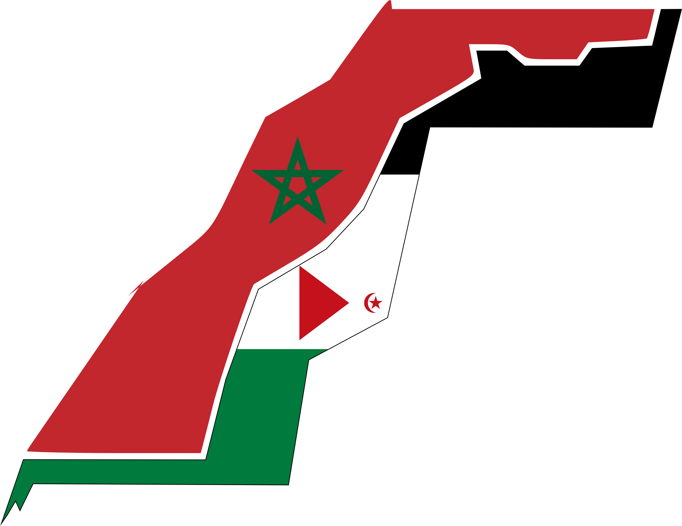 Western Sahara Flag Map With Stroke by GDJ