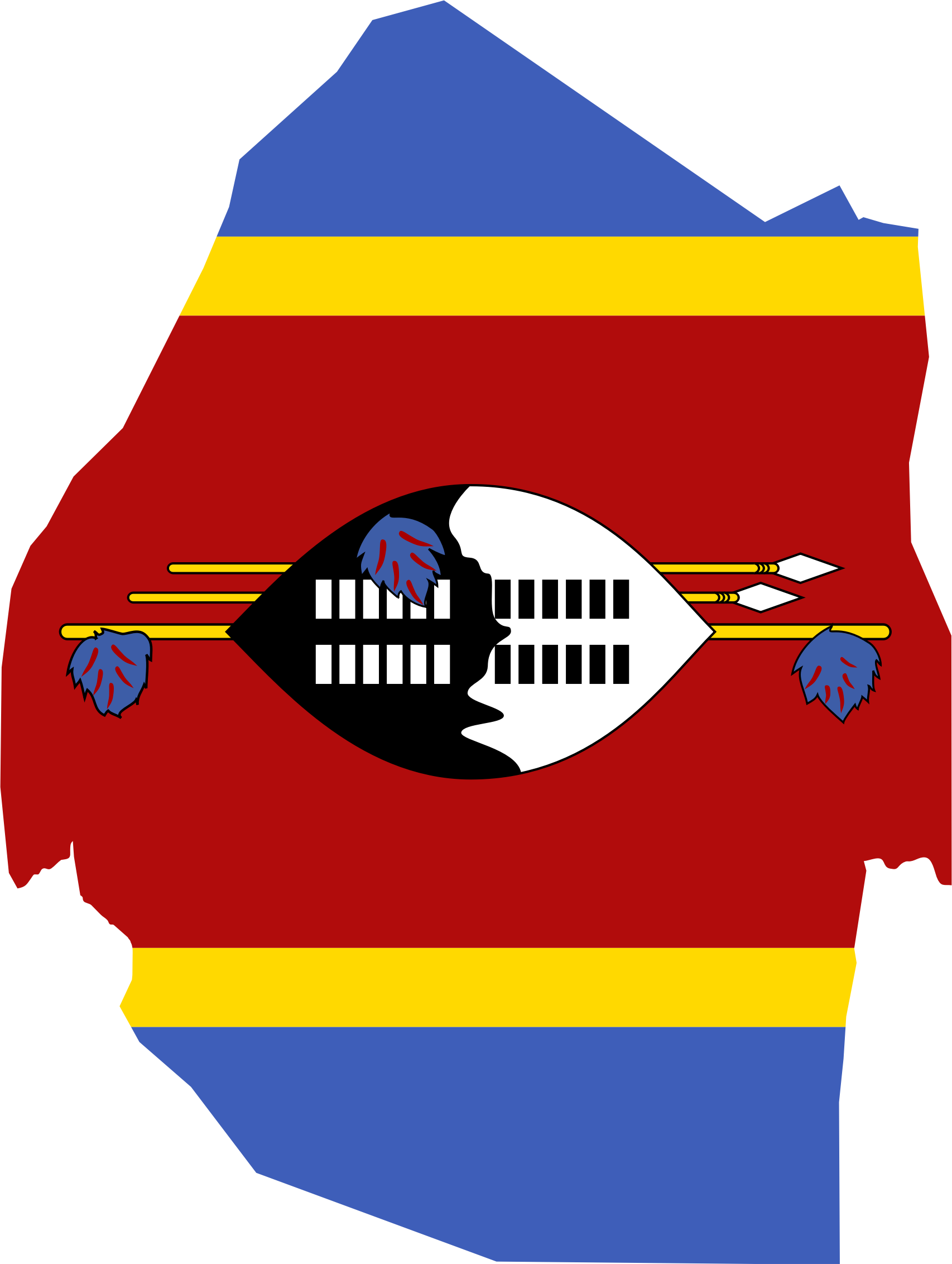 Clipart Swaziland Map Flag - Swaziland map