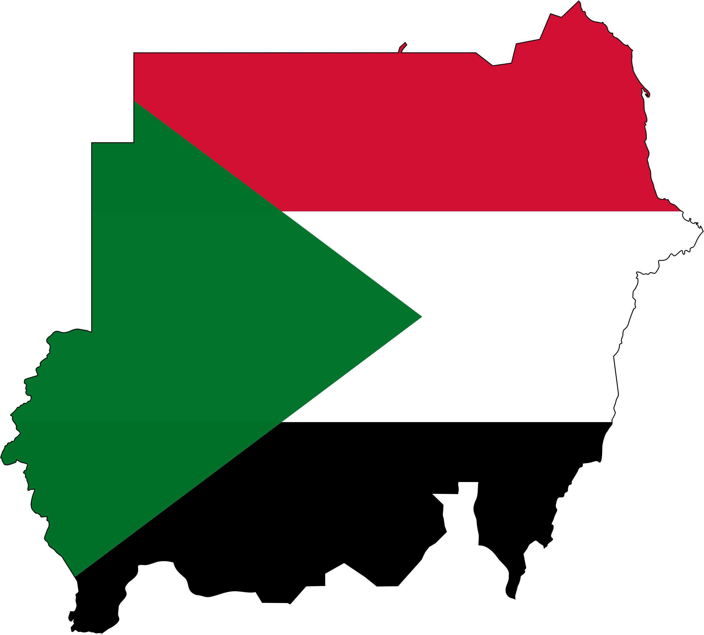 Sudan Flag Map With Stroke by GDJ