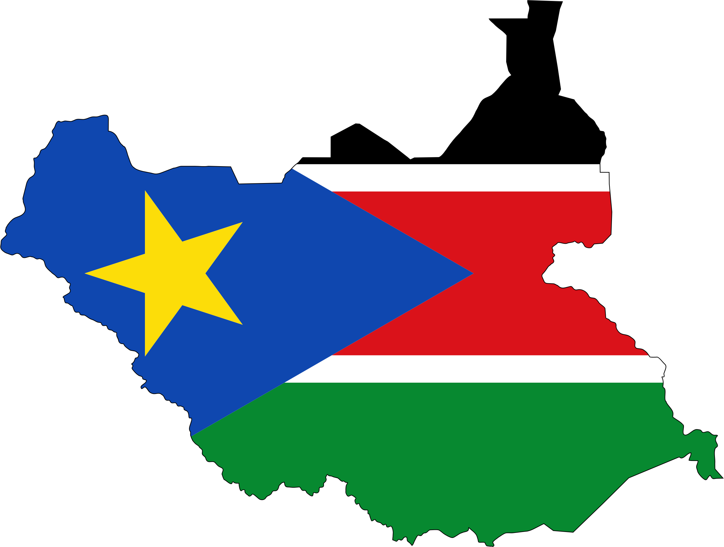 South Sudan Flag Map With Stroke by GDJ