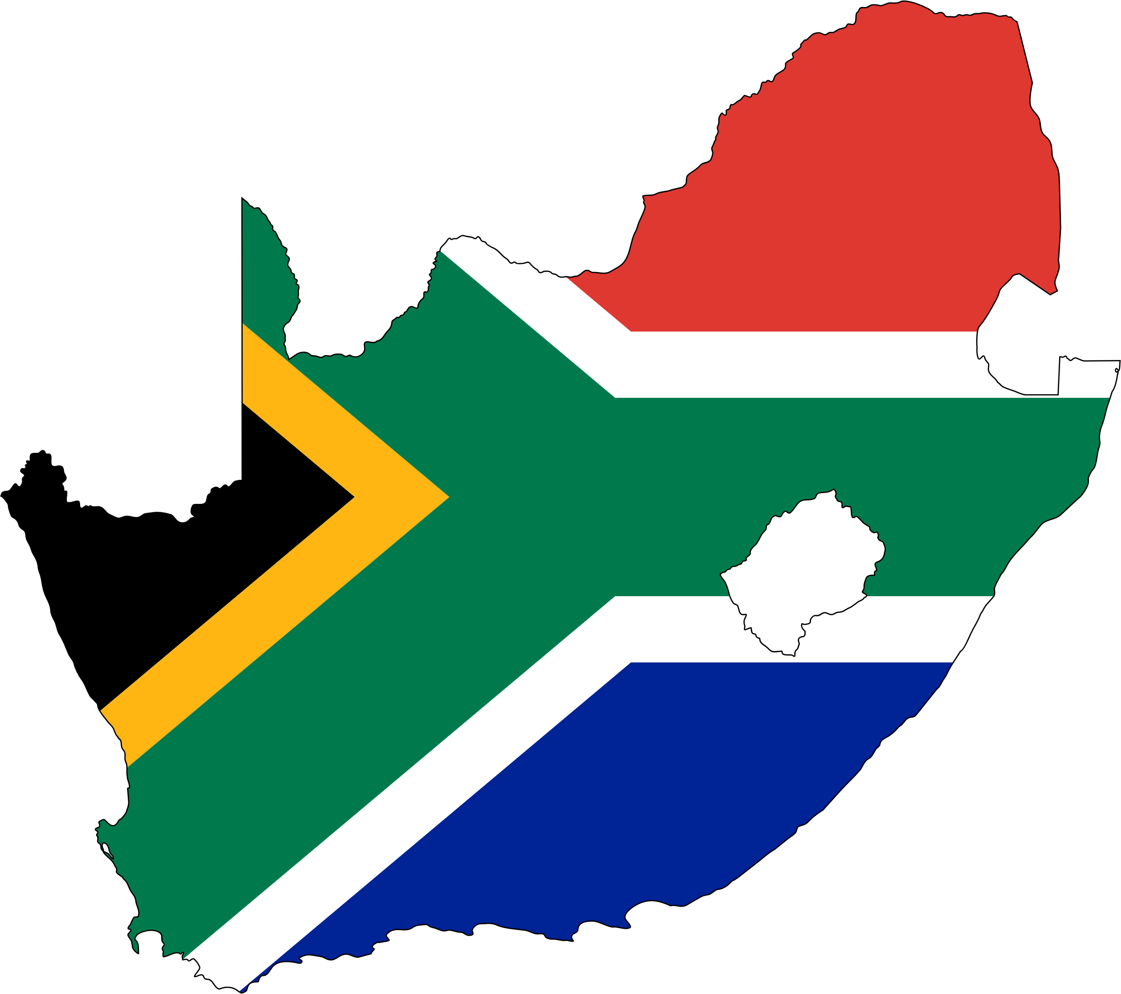 South Africa Flag Map With Stroke by GDJ