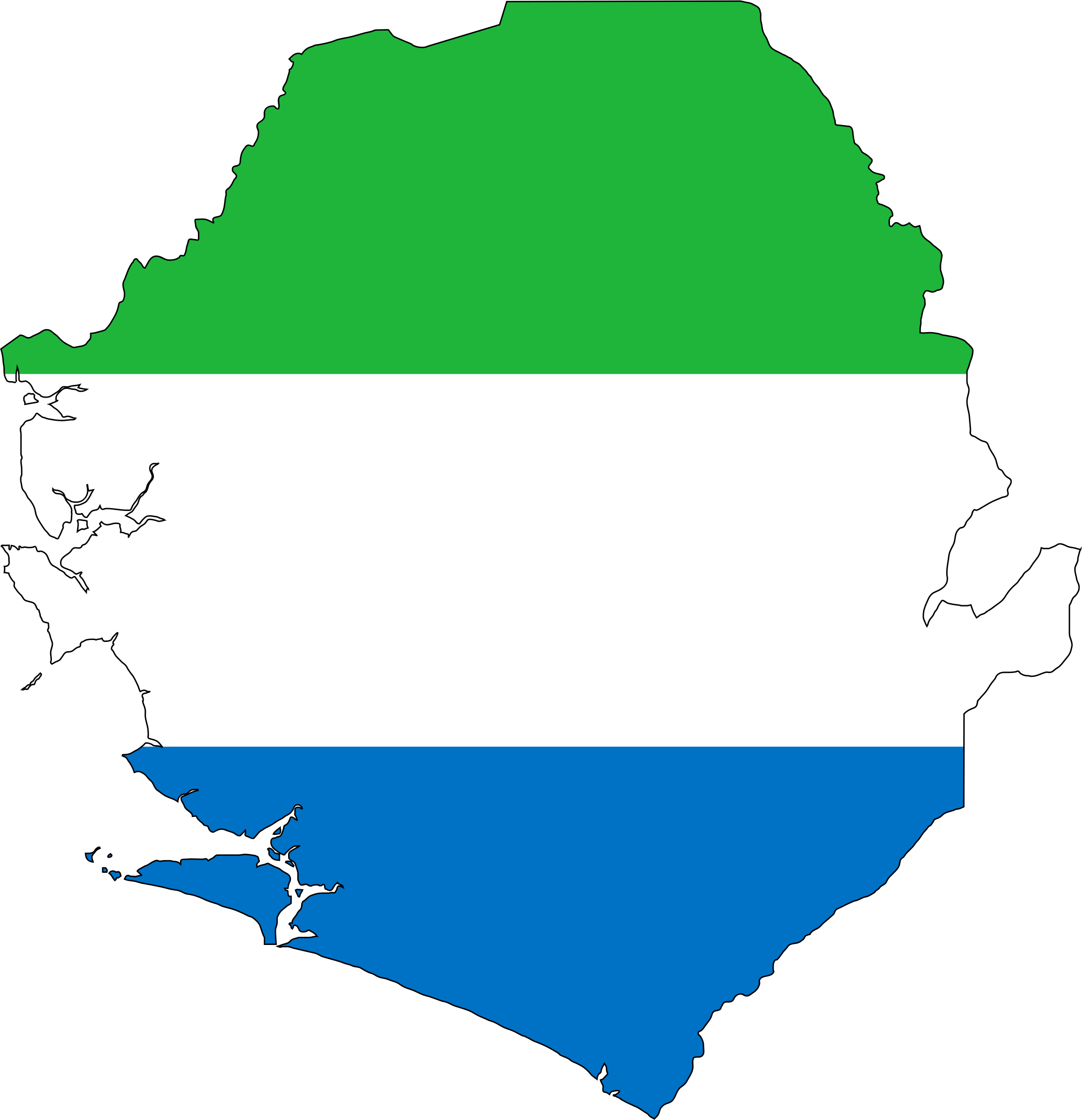 Sierra Leone Flag Map With Stroke by GDJ