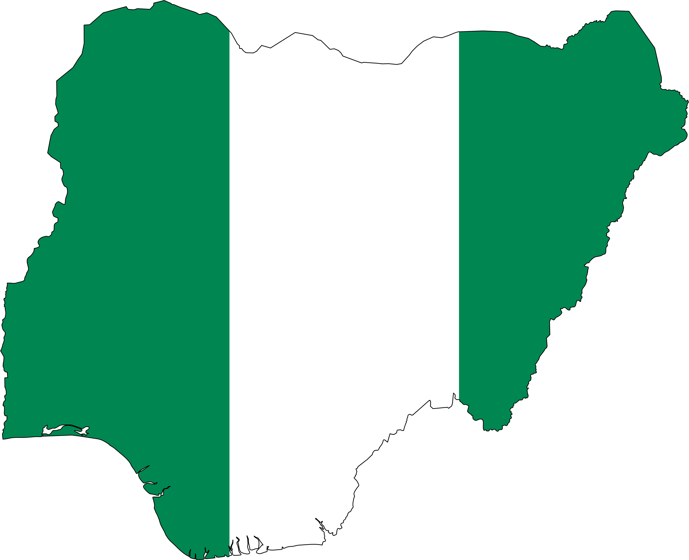 Nigeria Flag Map With Stroke by GDJ