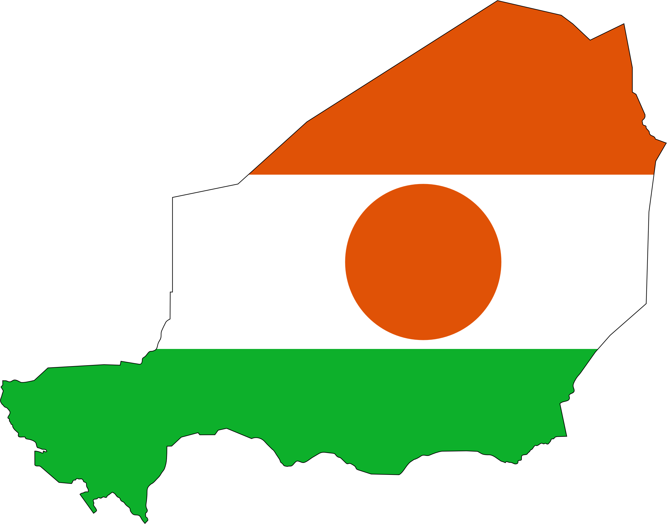 Niger Flag Map With Stroke by GDJ