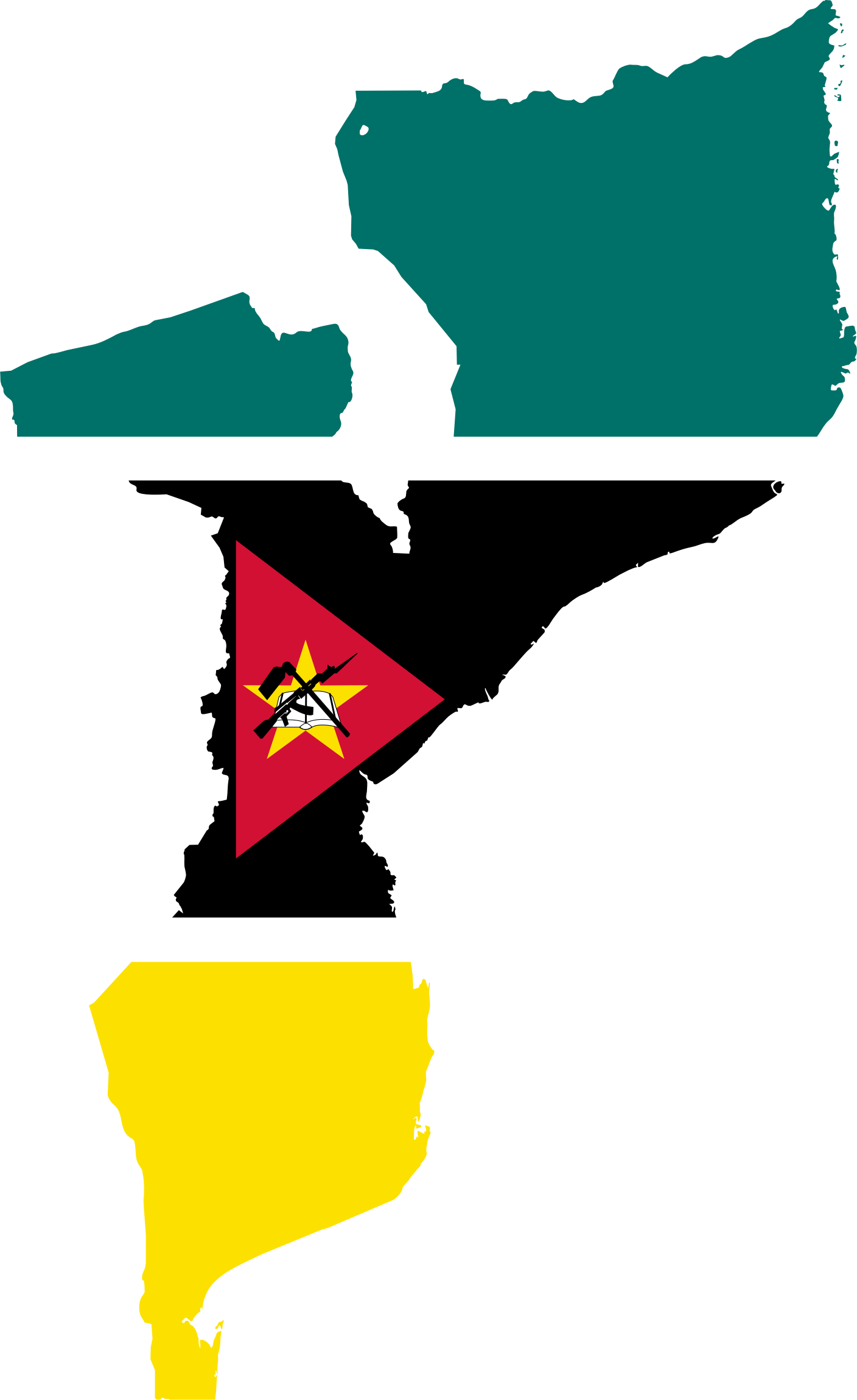 Mozambique Flag Map by GDJ