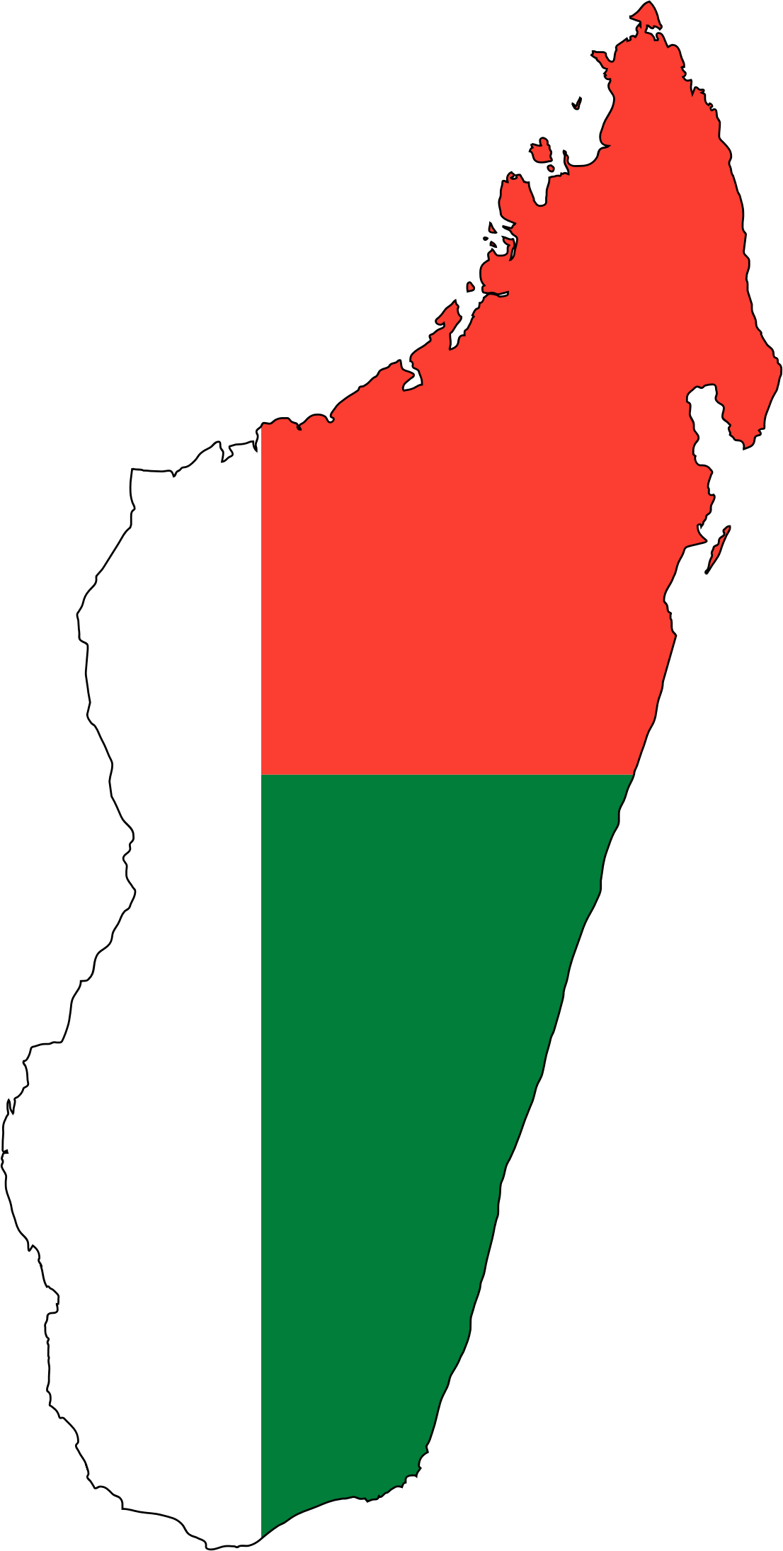 Clipart Madagascar Flag Map With Stroke - Madagascar map