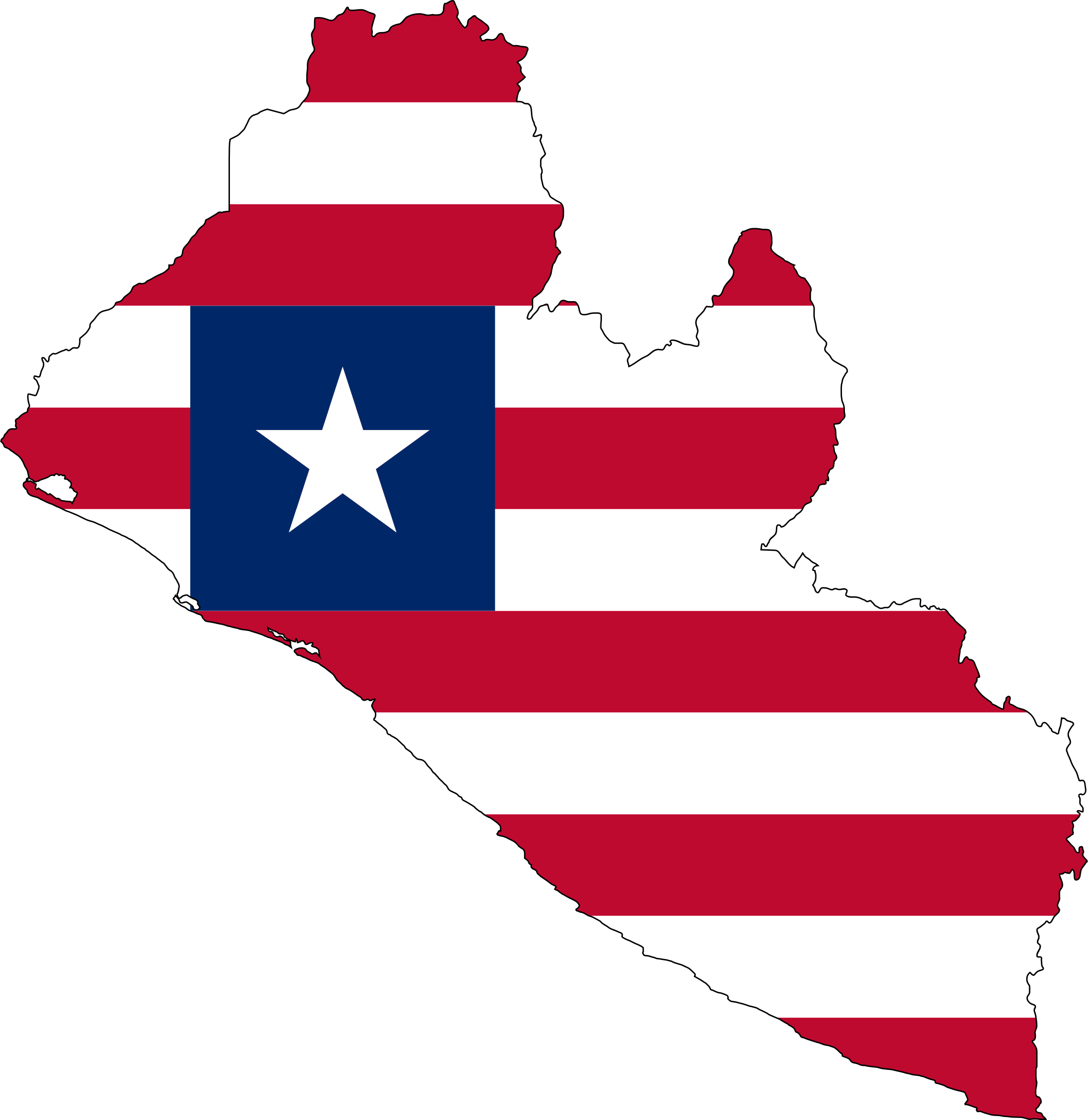 Liberia Flag Map With Stroke by GDJ