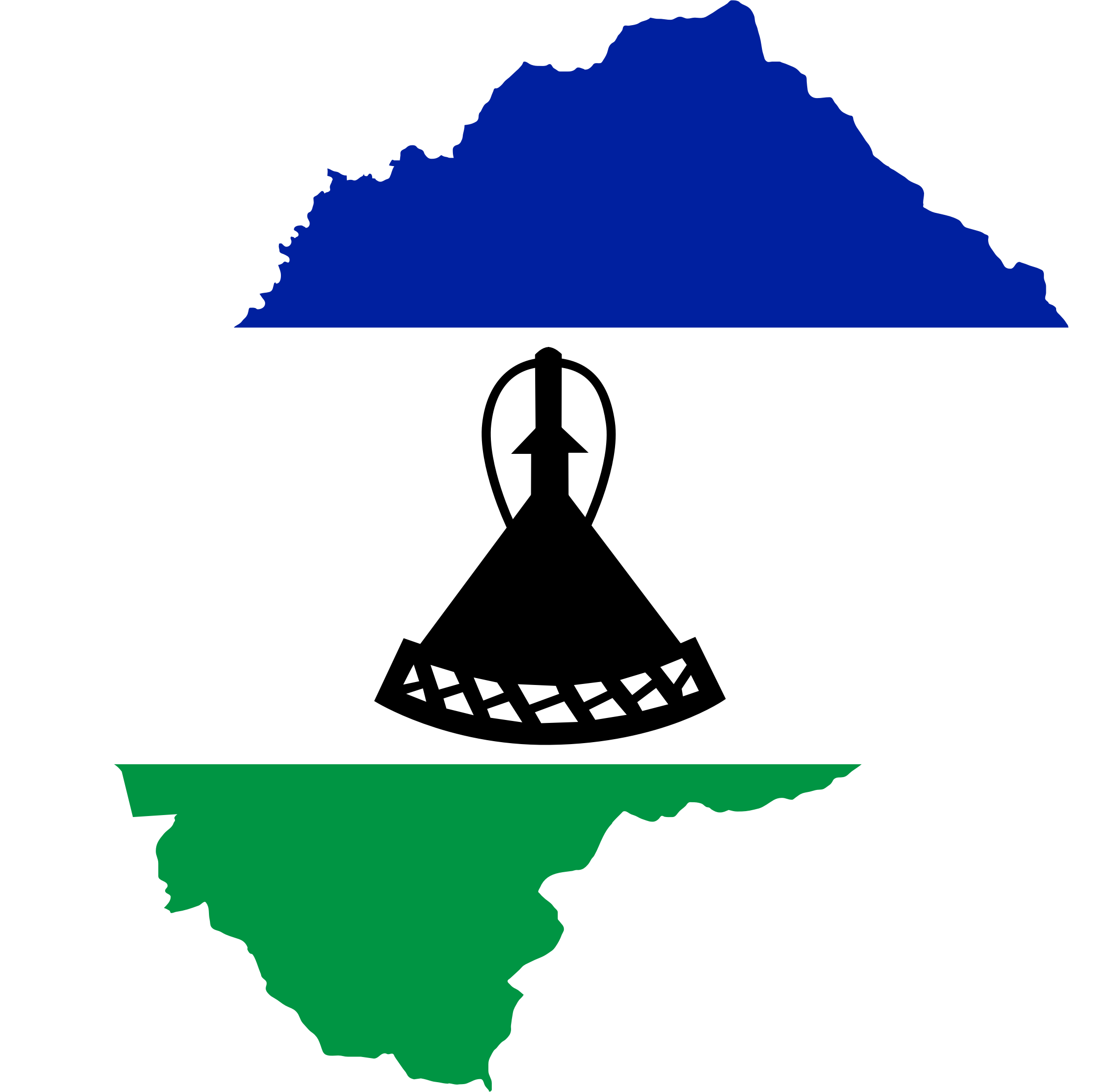 Lesotho Flag Map by GDJ