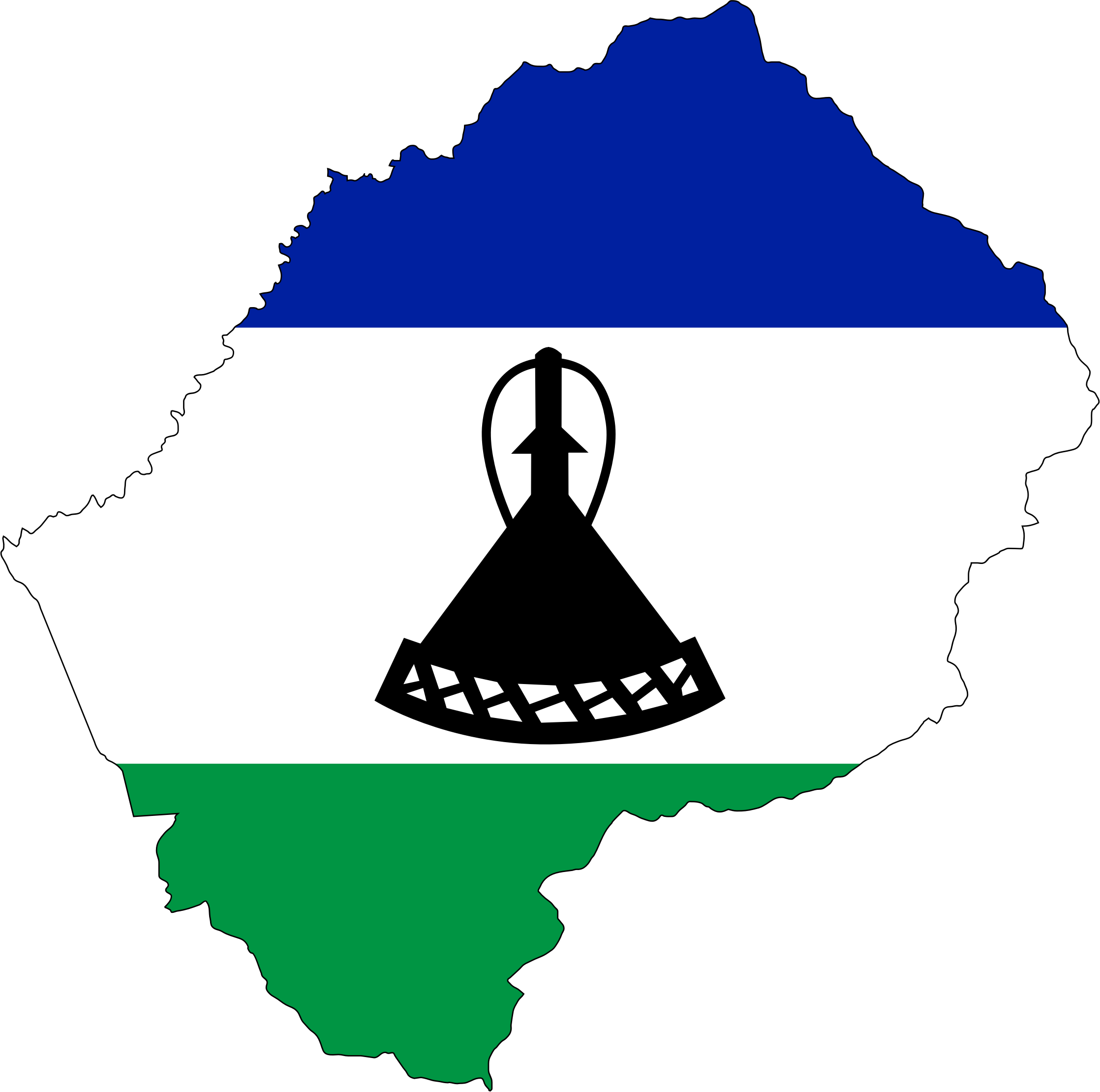 Lesotho Flag Map With Stroke by GDJ