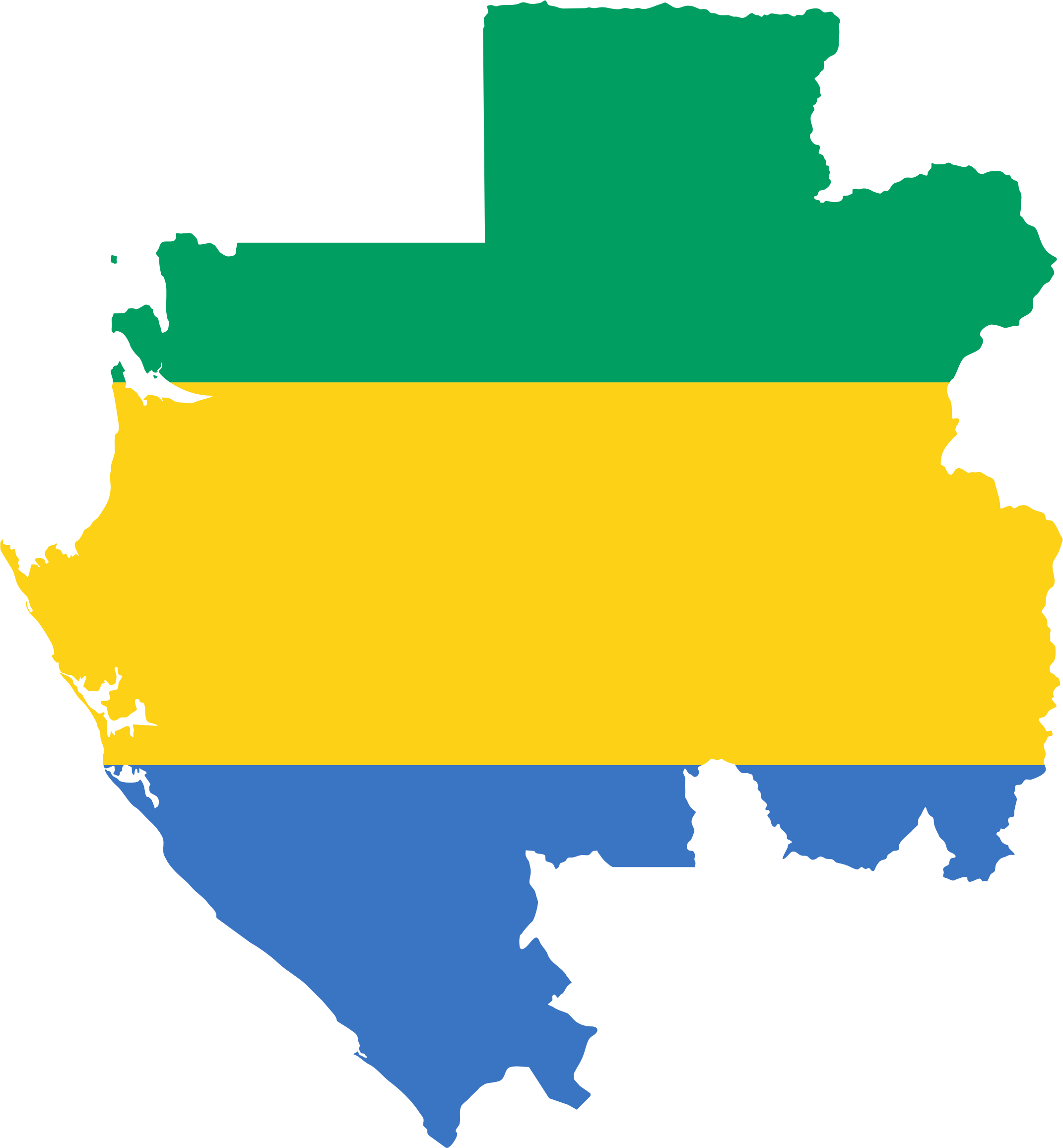 Clipart Gabon Flag Map - Gabon blank map