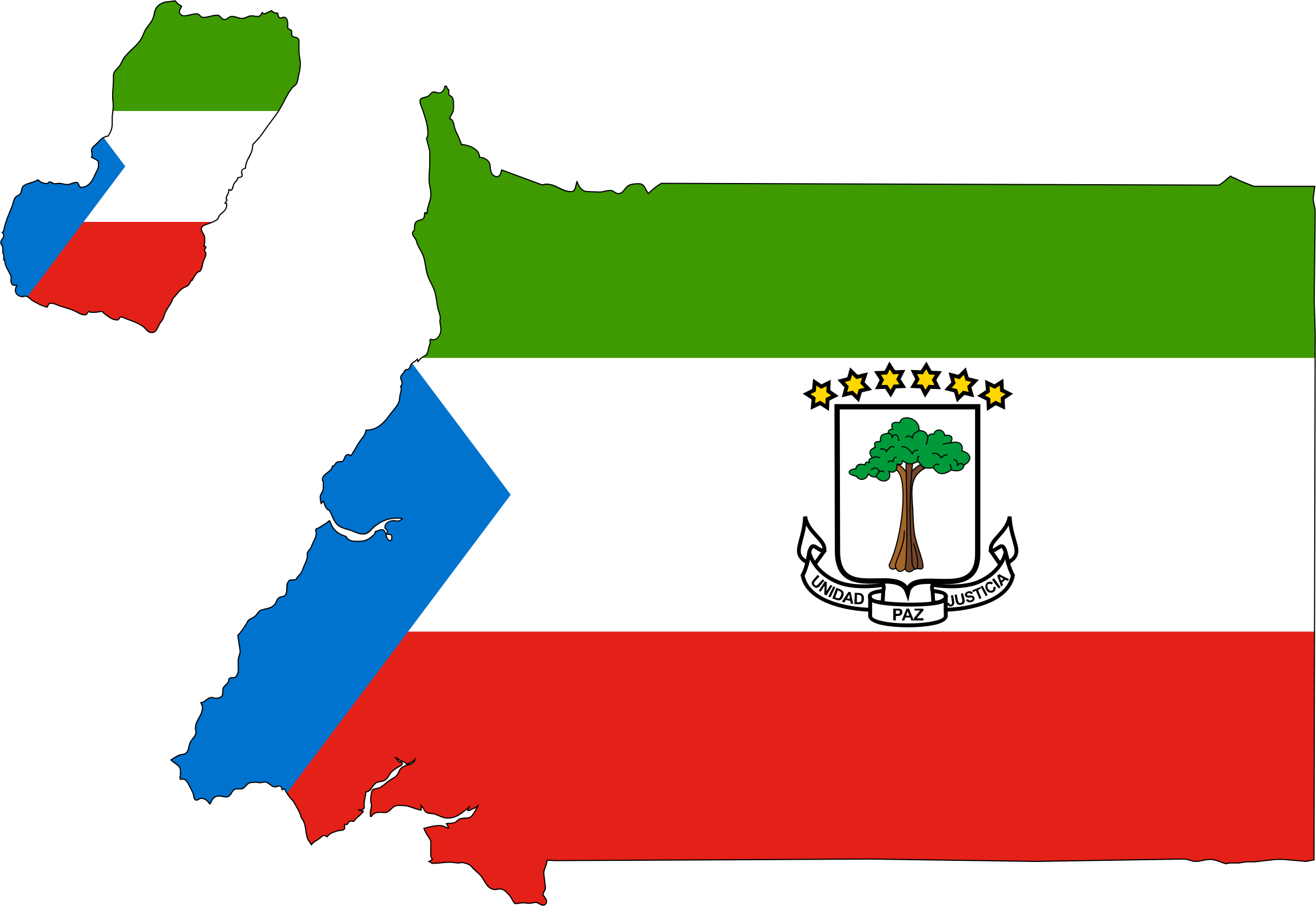 Equatorial Guinea Flag Map With Stroke by GDJ