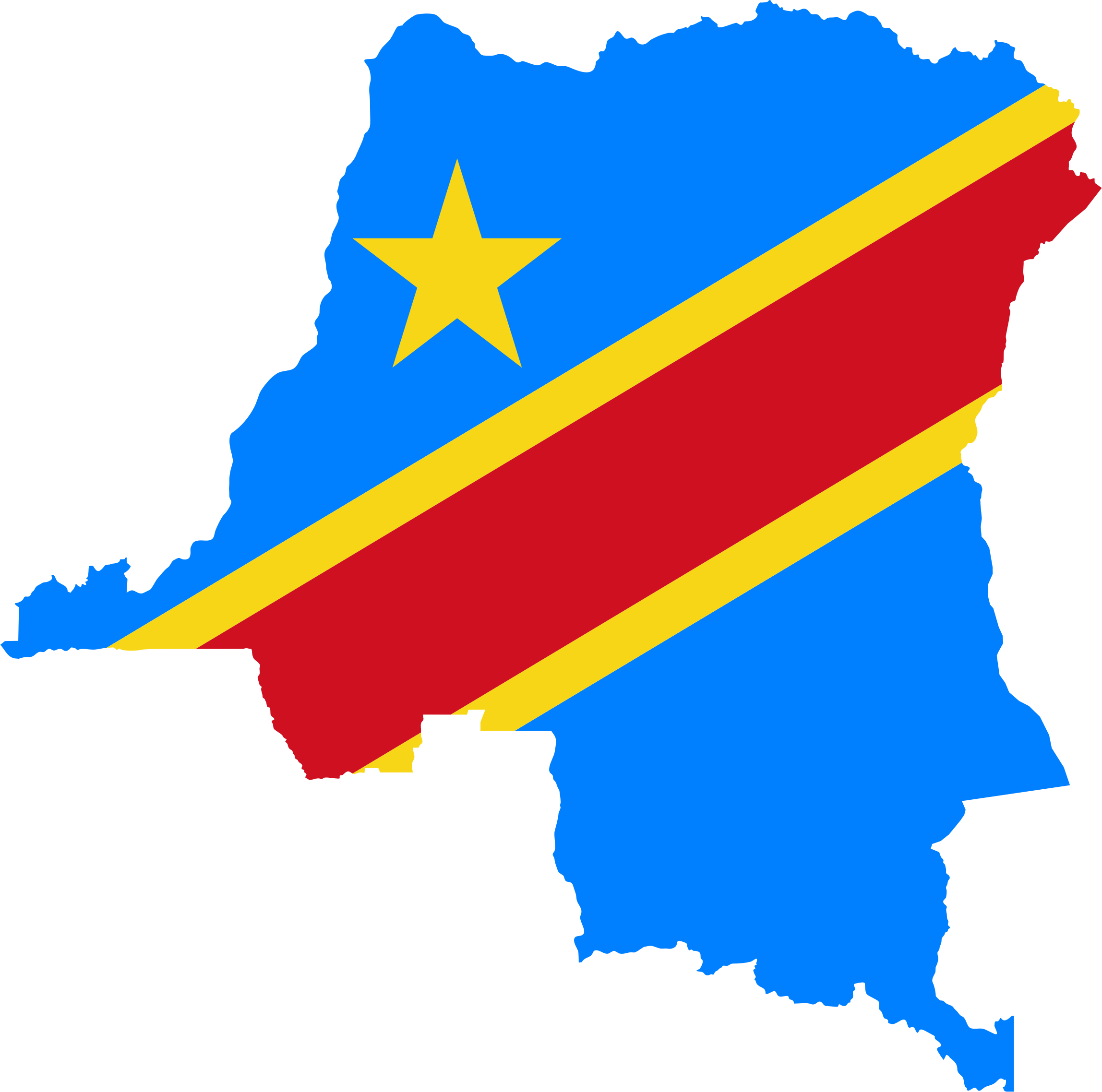 Democratic Republic Of The Congo Flag Map by GDJ