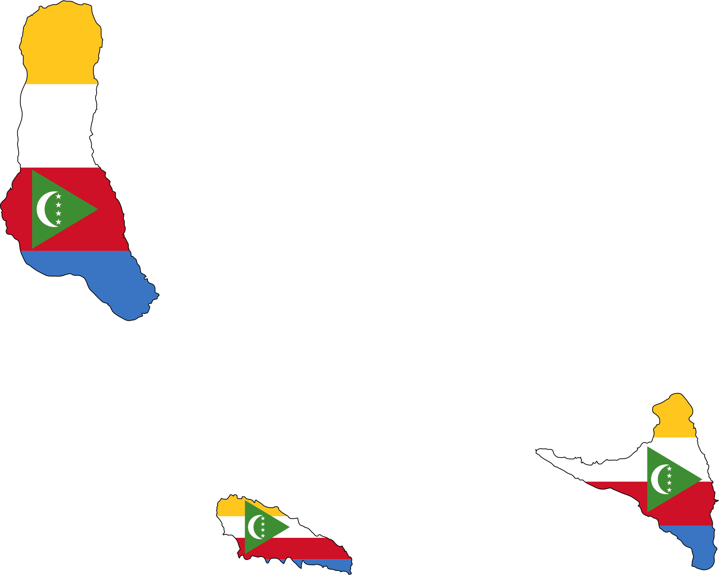 Comoros Flag Map With Stroke by GDJ