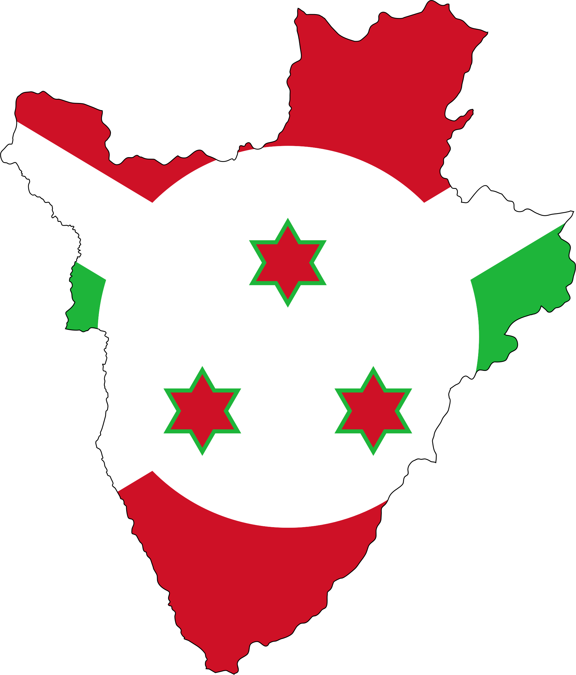 Burundi Flag Map With Stroke by GDJ